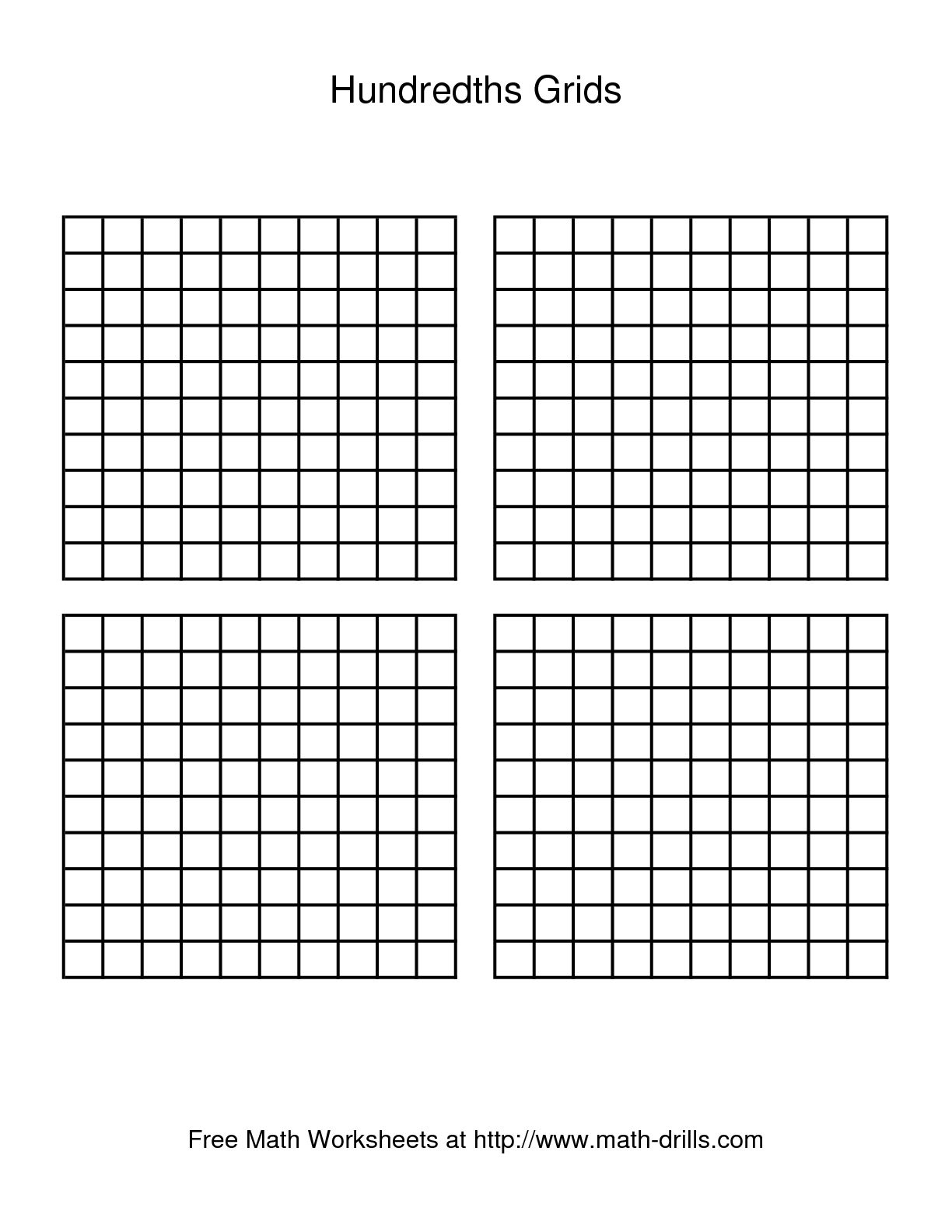 11 Best Images Of Decimal Hundredths Grid Worksheets