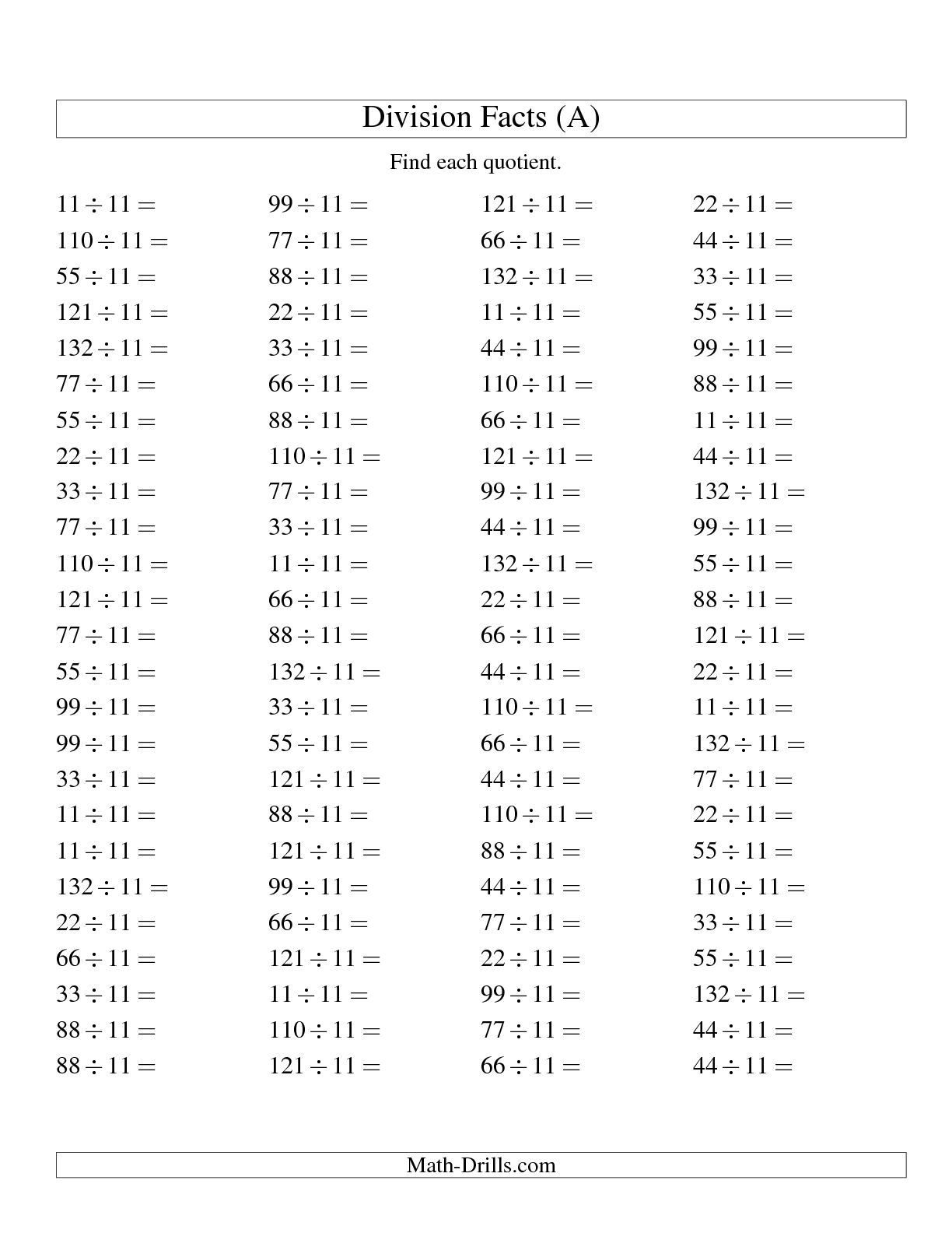 10 Best Images Of Basic Math Fact Printable Worksheets