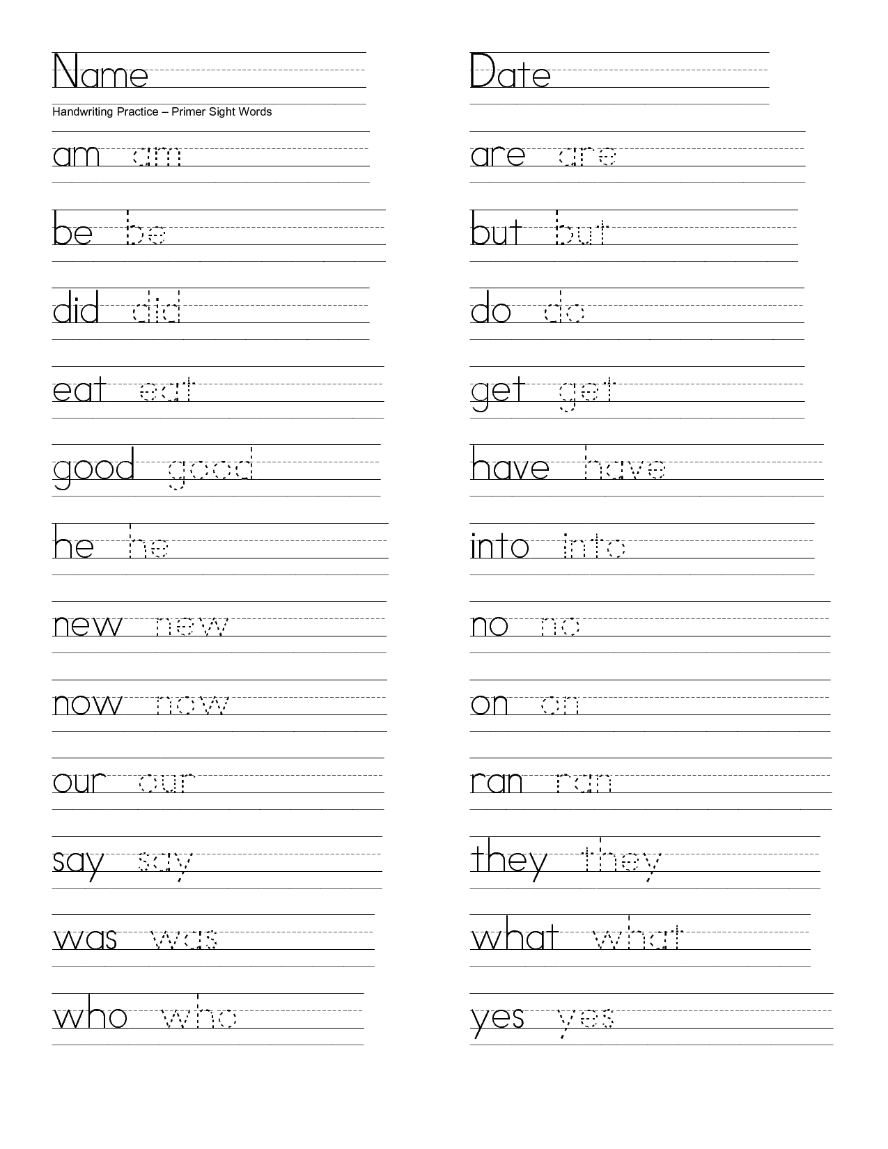 Handwriting Worksheet 1st Grade Sight Words