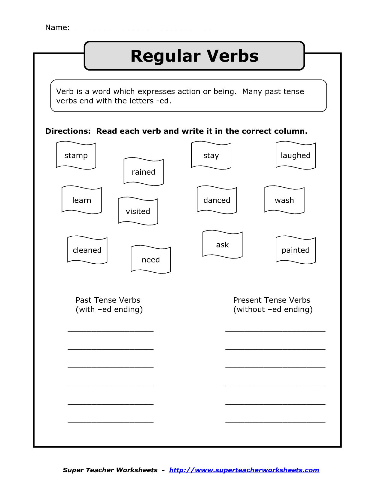 Regular Verbs Exercises Worksheet