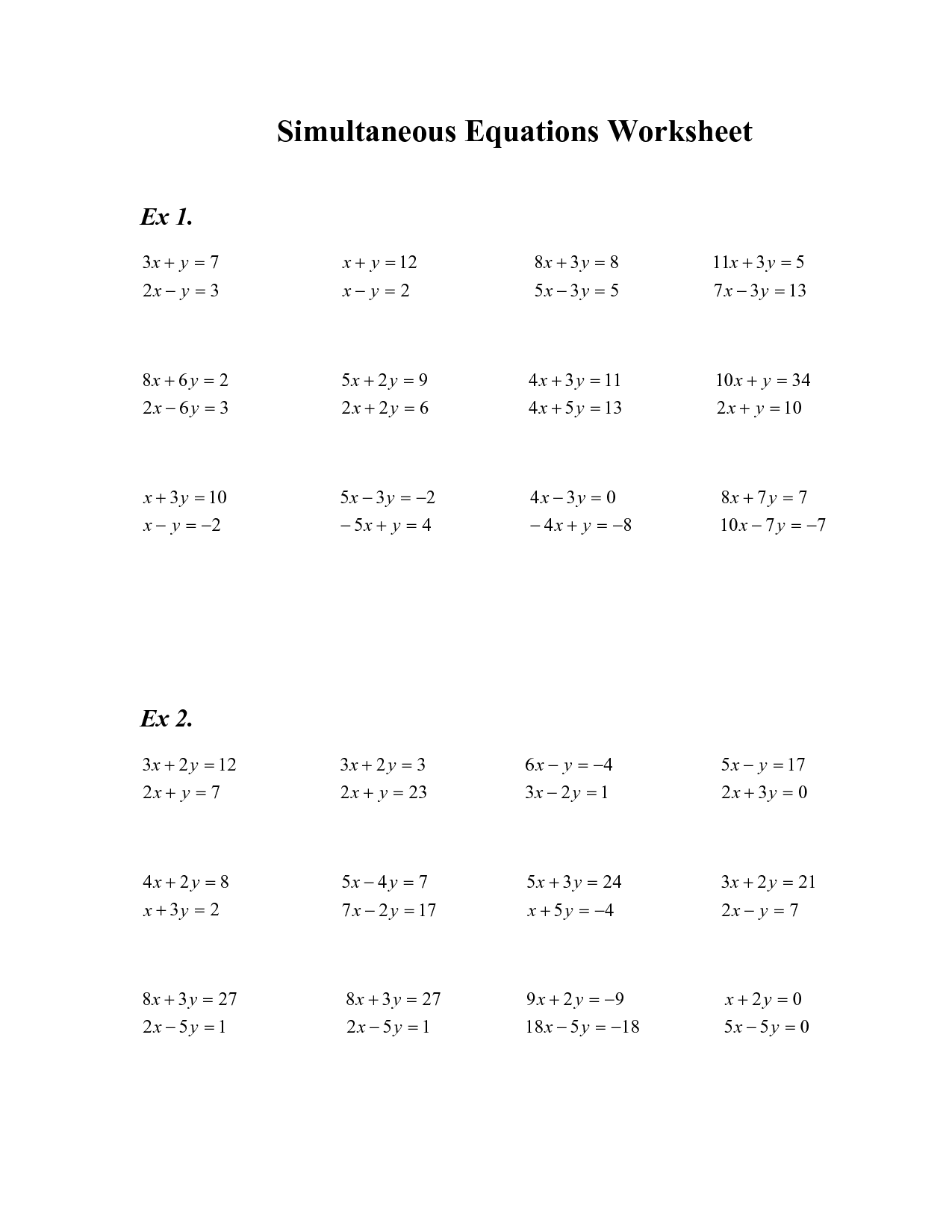 10 Best Images Of Substitution Method Algebra 2 Worksheets