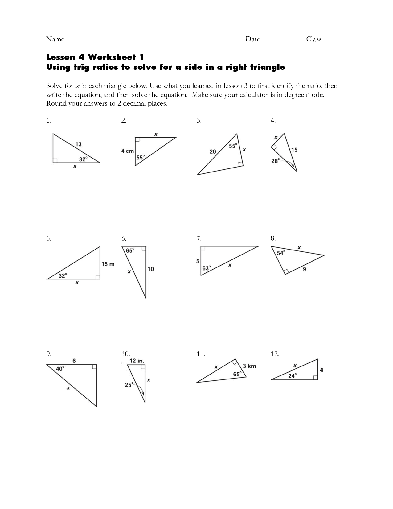 Right Triangle Trig Word Problems