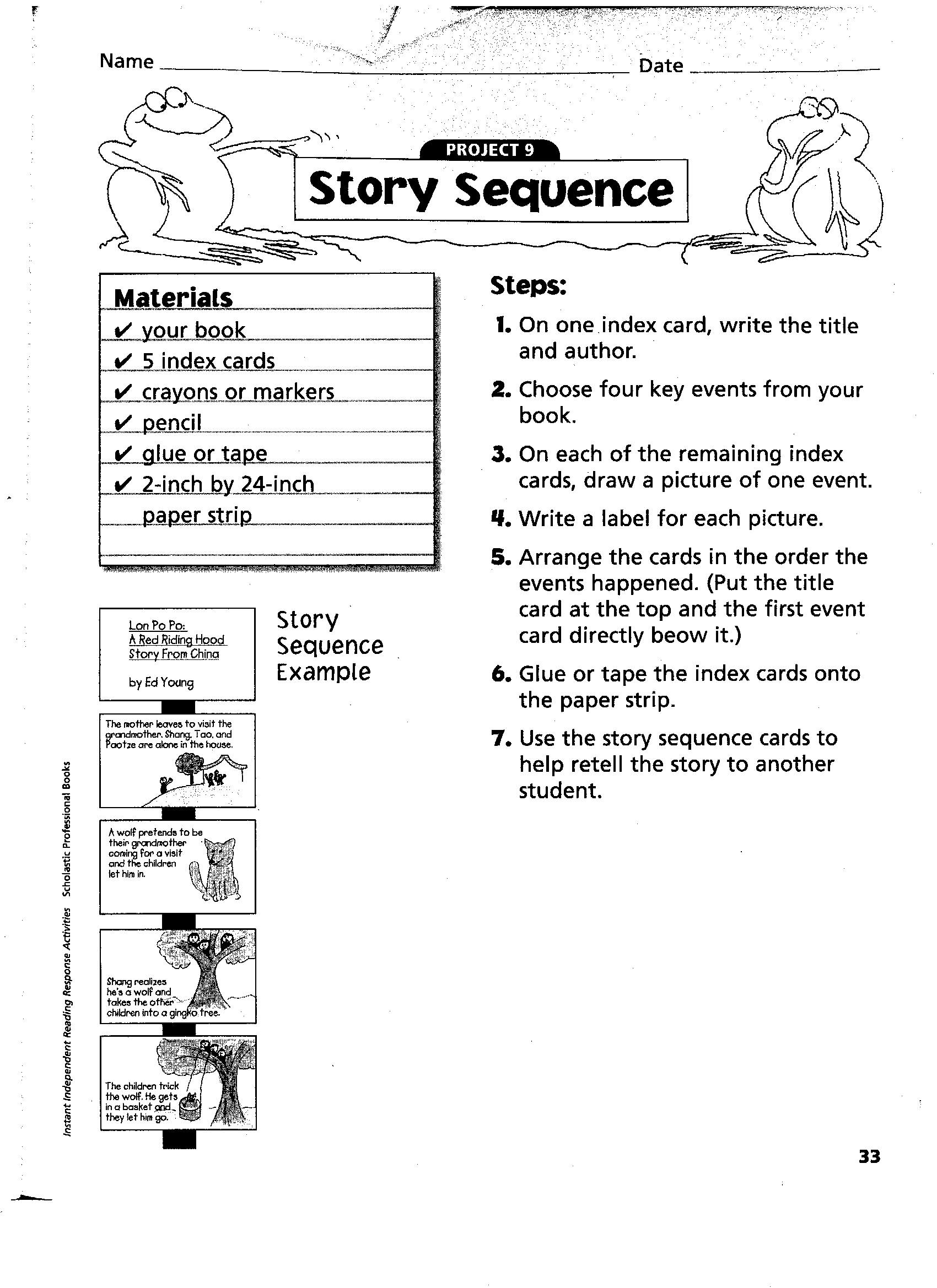 Story Sequencing Worksheet 2nd Grade