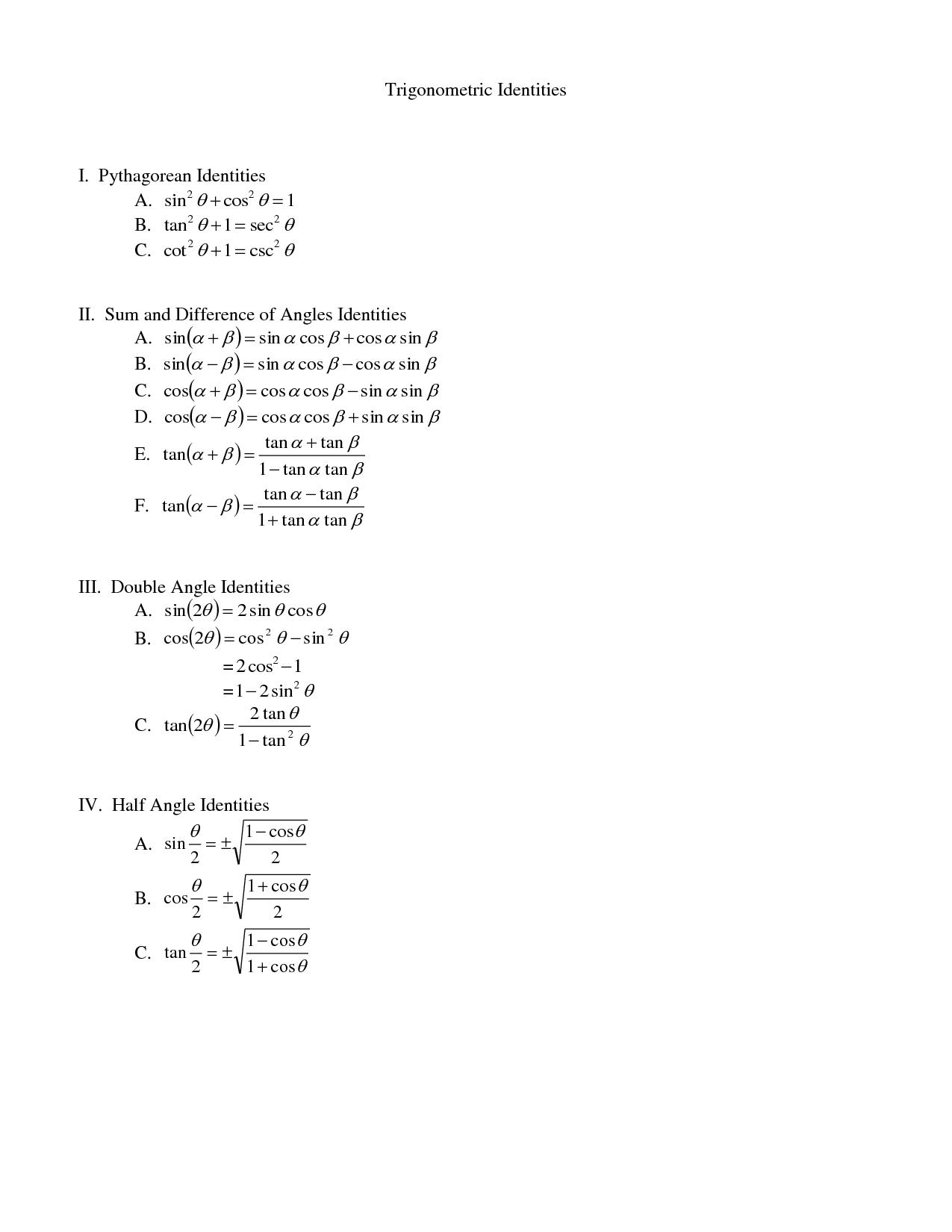 5 Best Images Of Trig Functions Worksheet