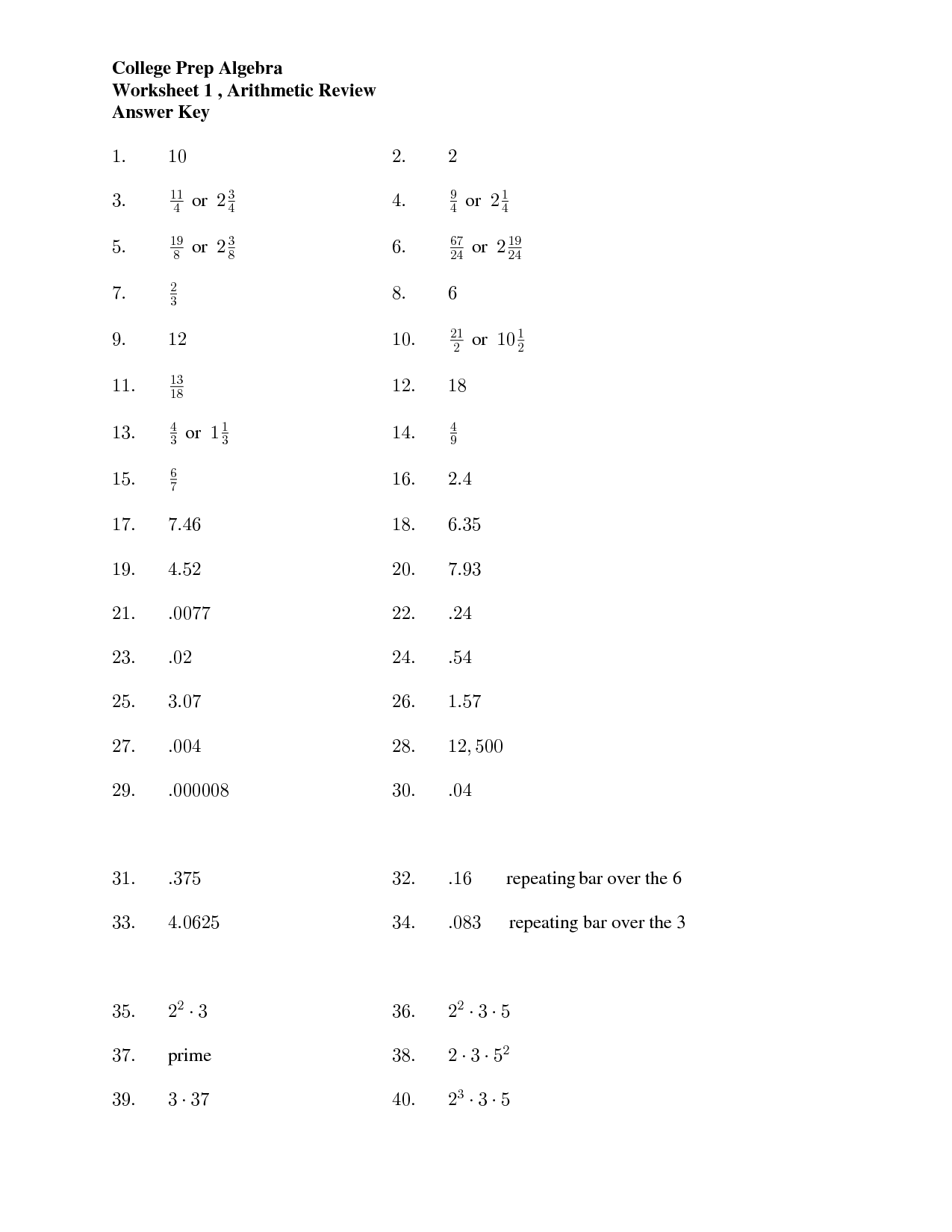 13 Best Images Of Algebra 2 Worksheet Keys
