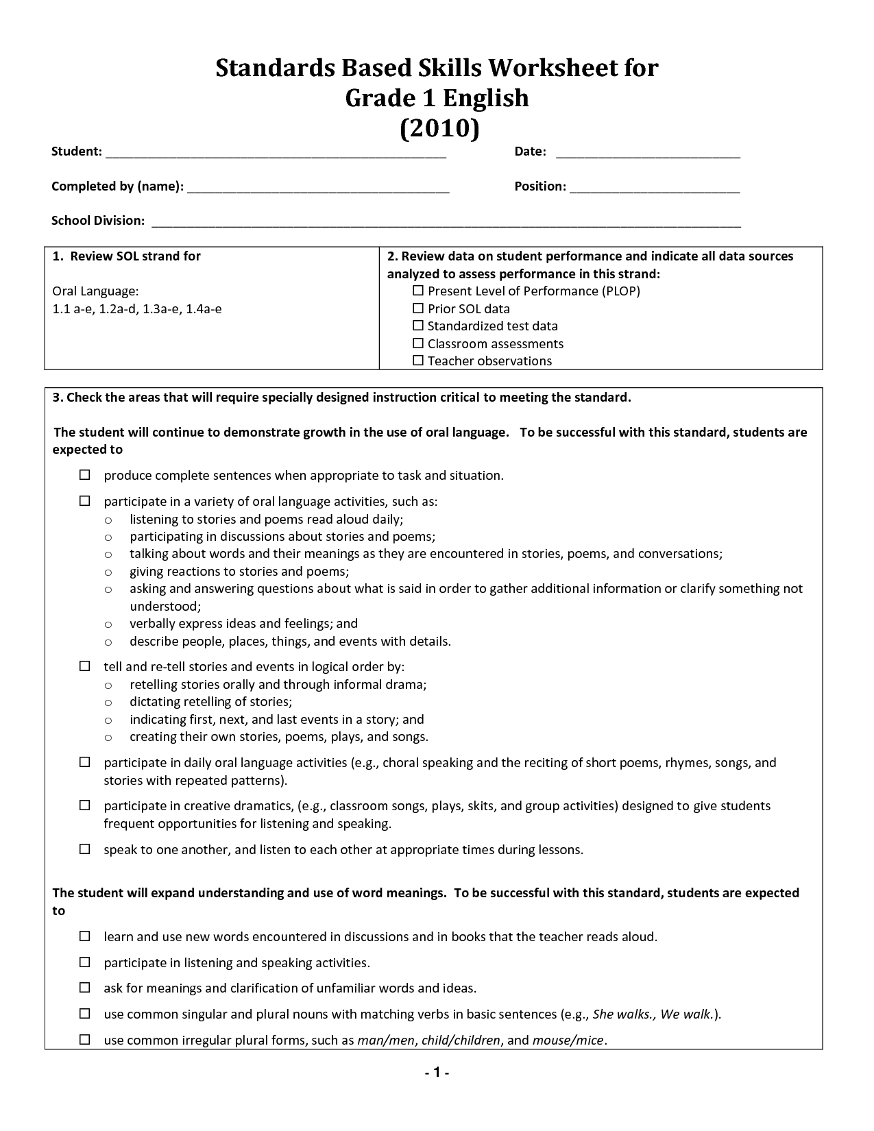 16 Best Images Of English Worksheets Grade 1 Download