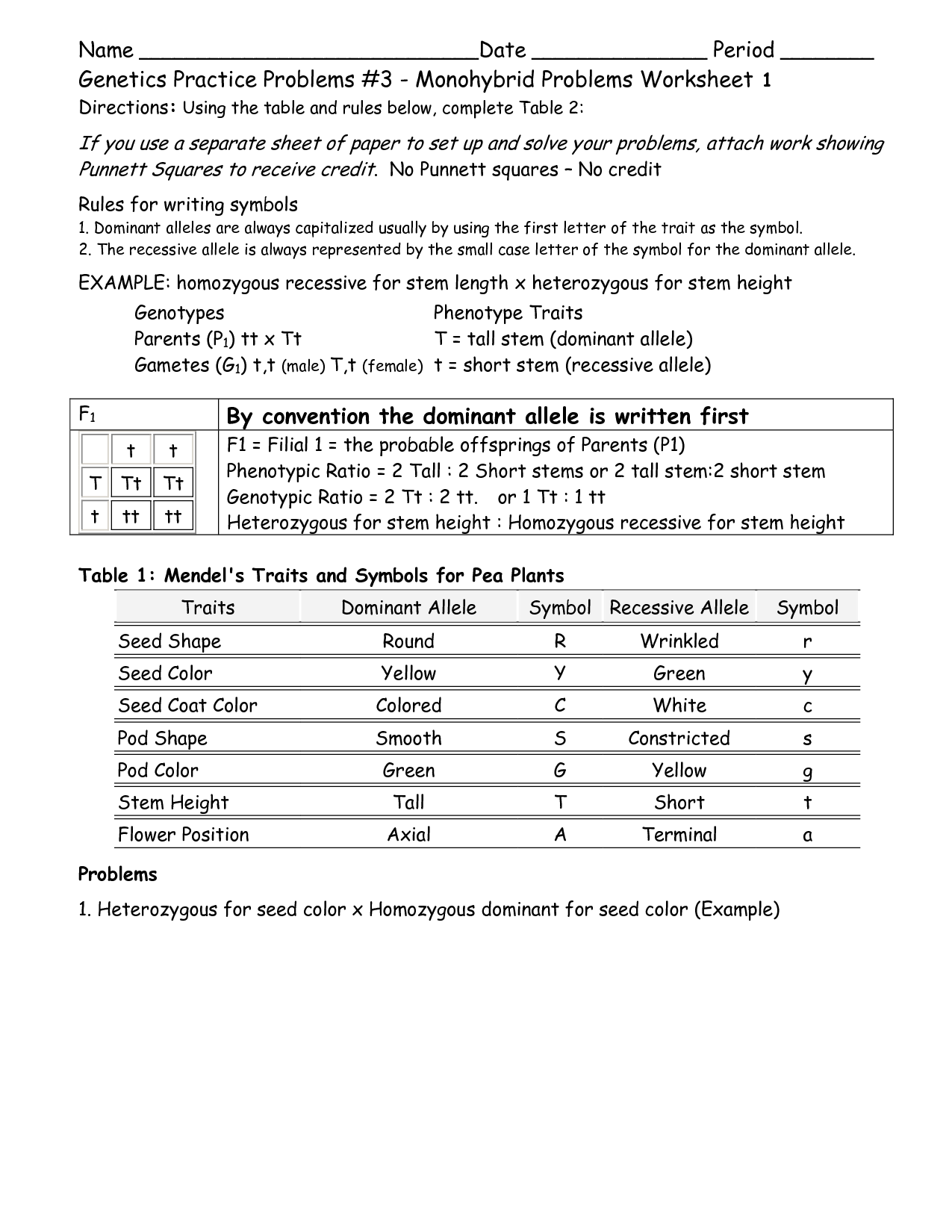 18 Best Images Of Monohybrid Genetics Problems Worksheet