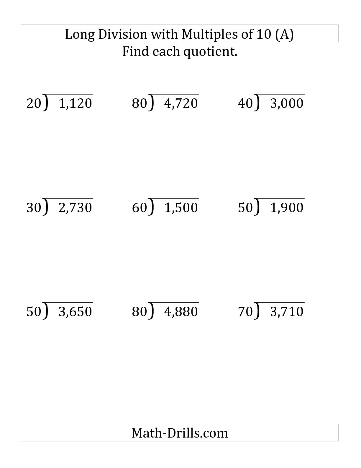 Worksheet Long Division Worksheets No Remainders