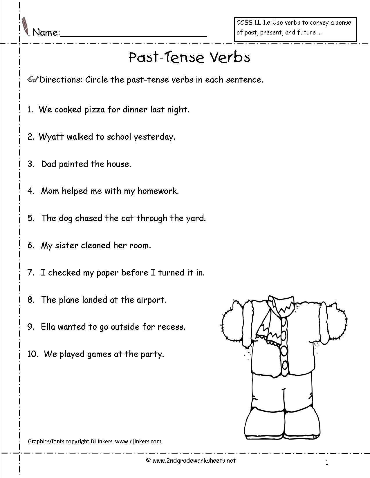 Verb Worksheet 5th Grade