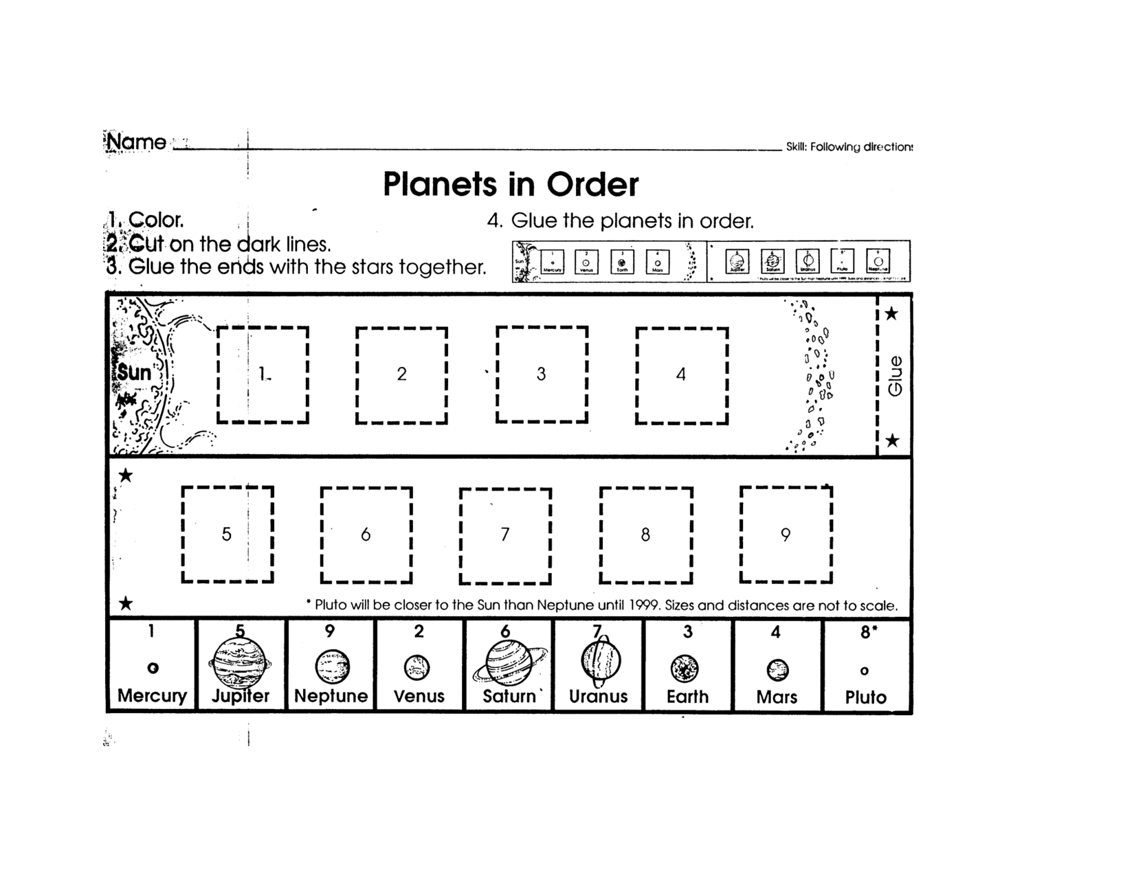 Planet Order Worksheet