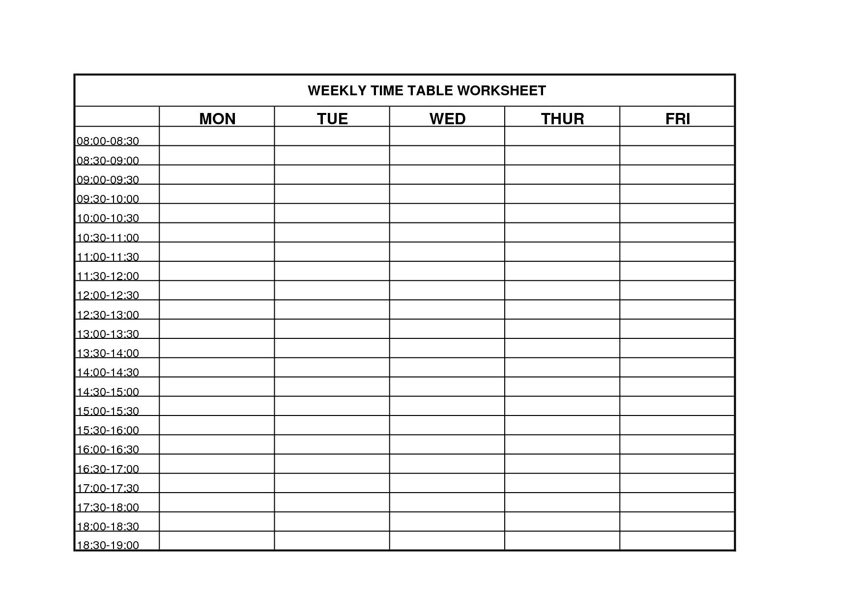 Calendar Discovery Worksheet