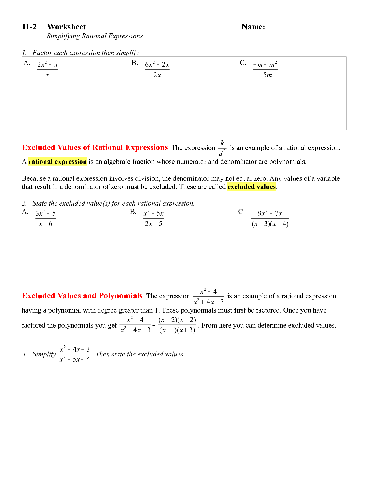 10 Best Images Of Dividing Rational Expressions Worksheet