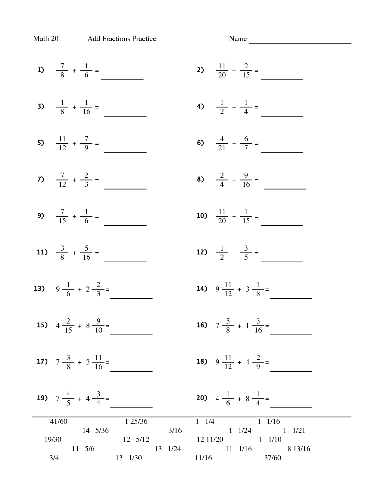 12 Best Images Of 5th Grade Fraction Addition Worksheets