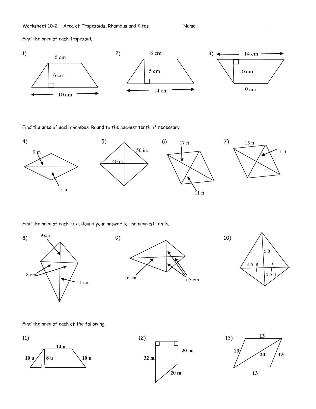 Kite Area Worksheet