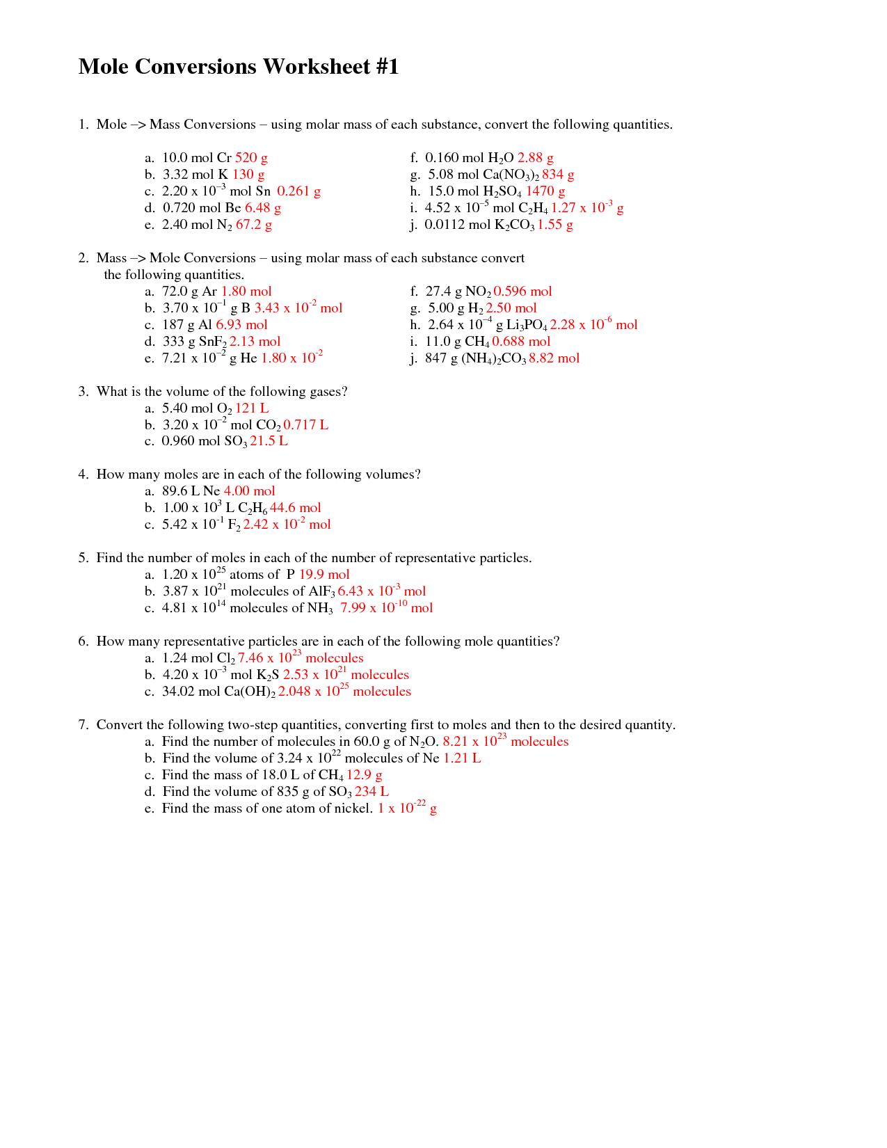 Worksheets Mole Conversion Worksheet Answers Cheatslist
