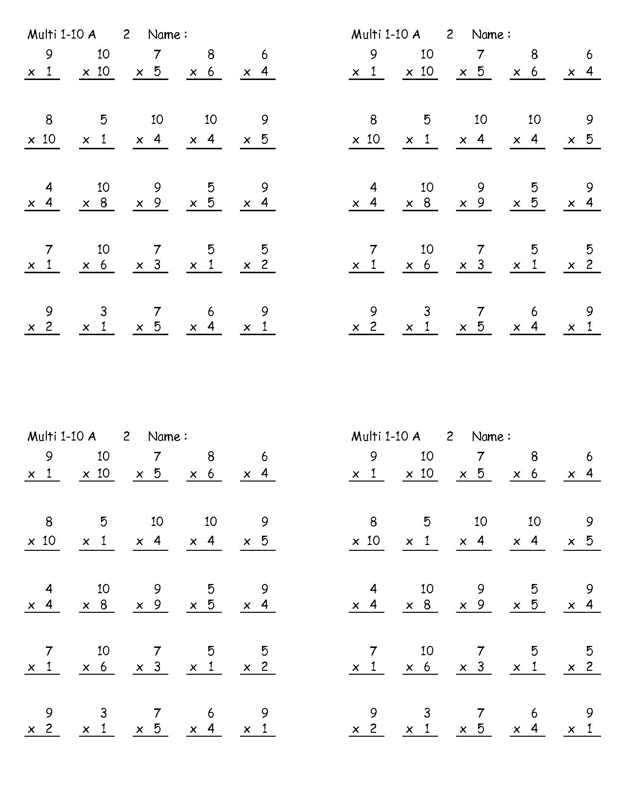 5 Tables Worksheet