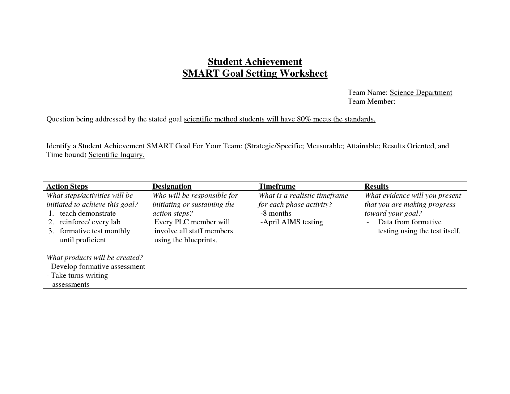 17 Best Images Of Student Goals Worksheet For