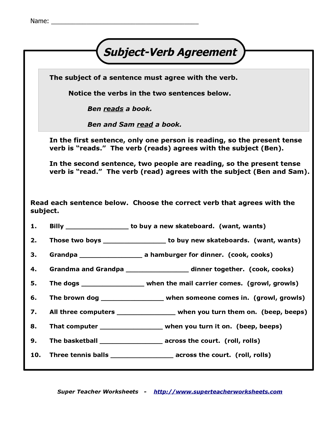 Worksheet Subject Verb Agreement Examples