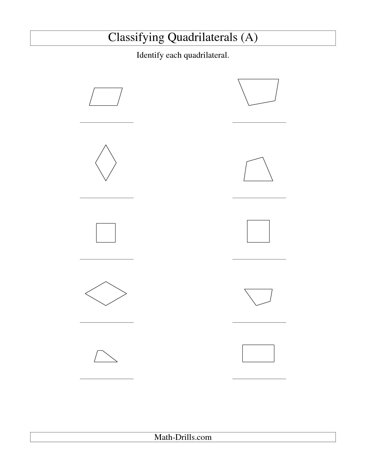 Quadrilaterals Worksheet Grade 5