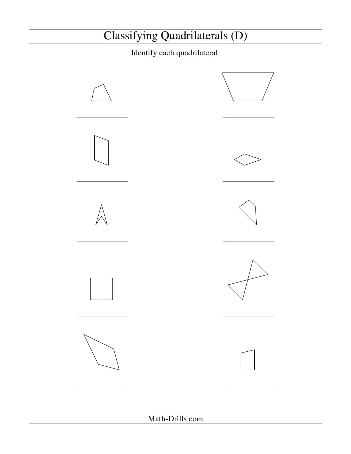 Types Of Quadrilaterals Worksheet