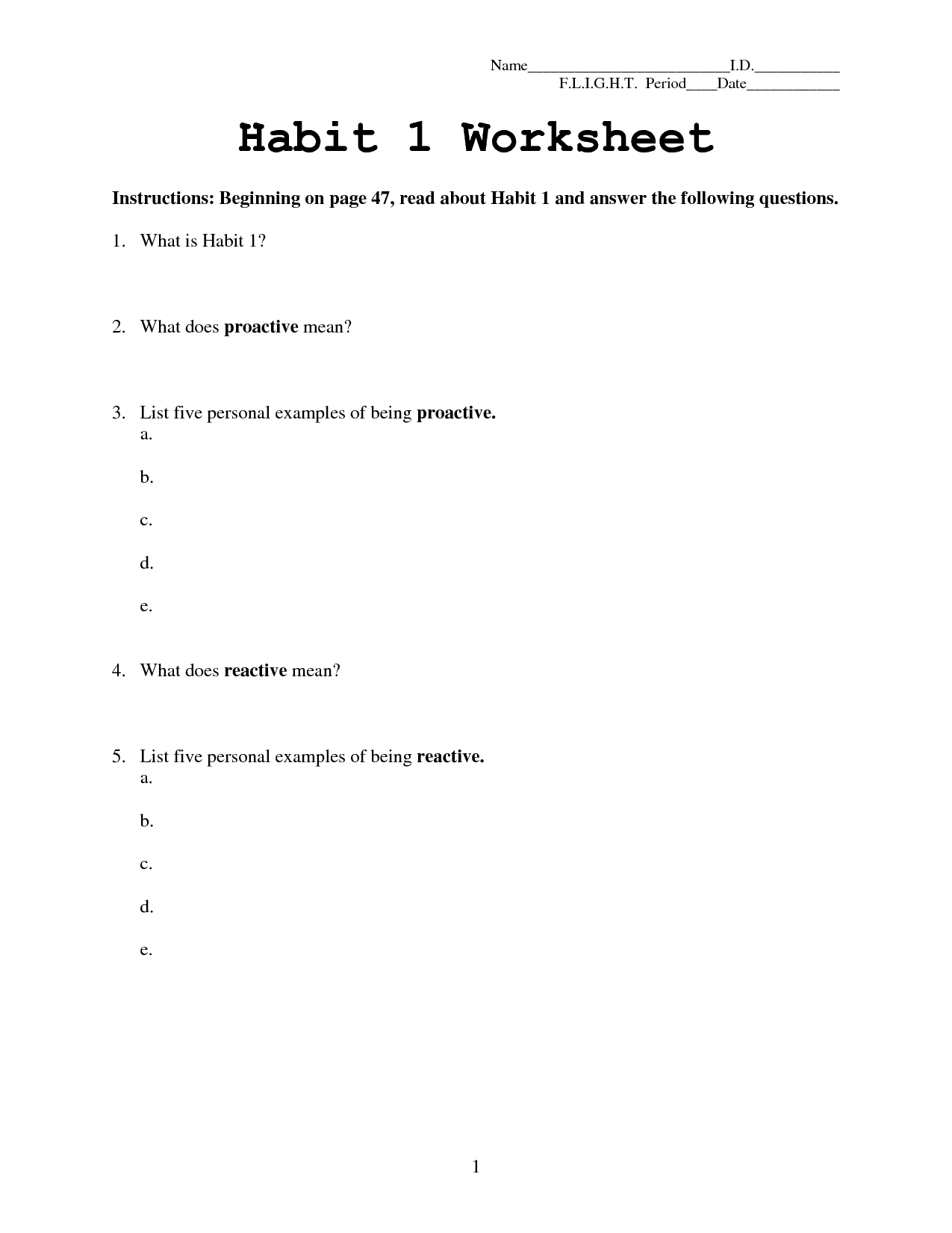 15 Best Images Of Habit 3 Worksheets