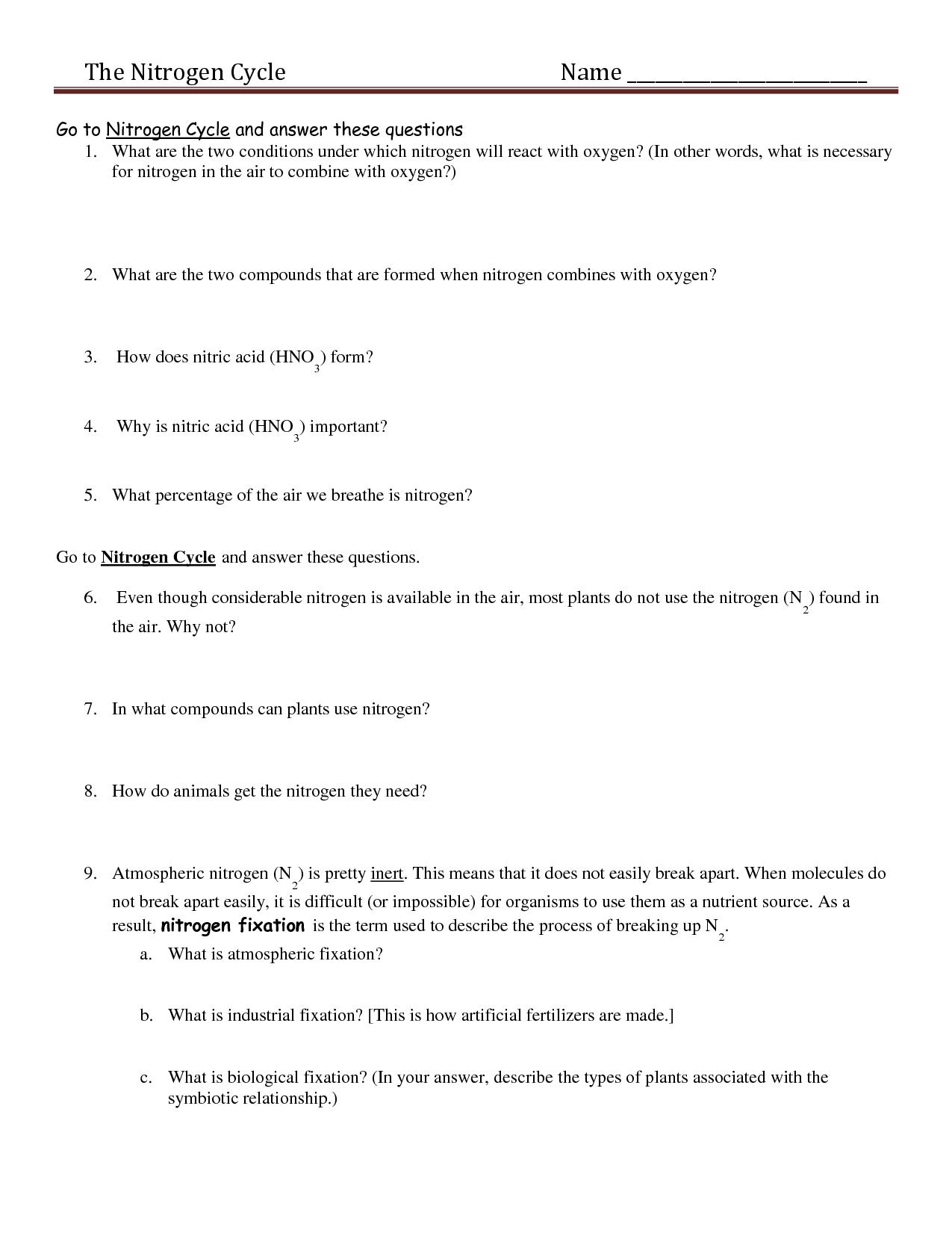Nitrogen Cycle Reading Worksheet