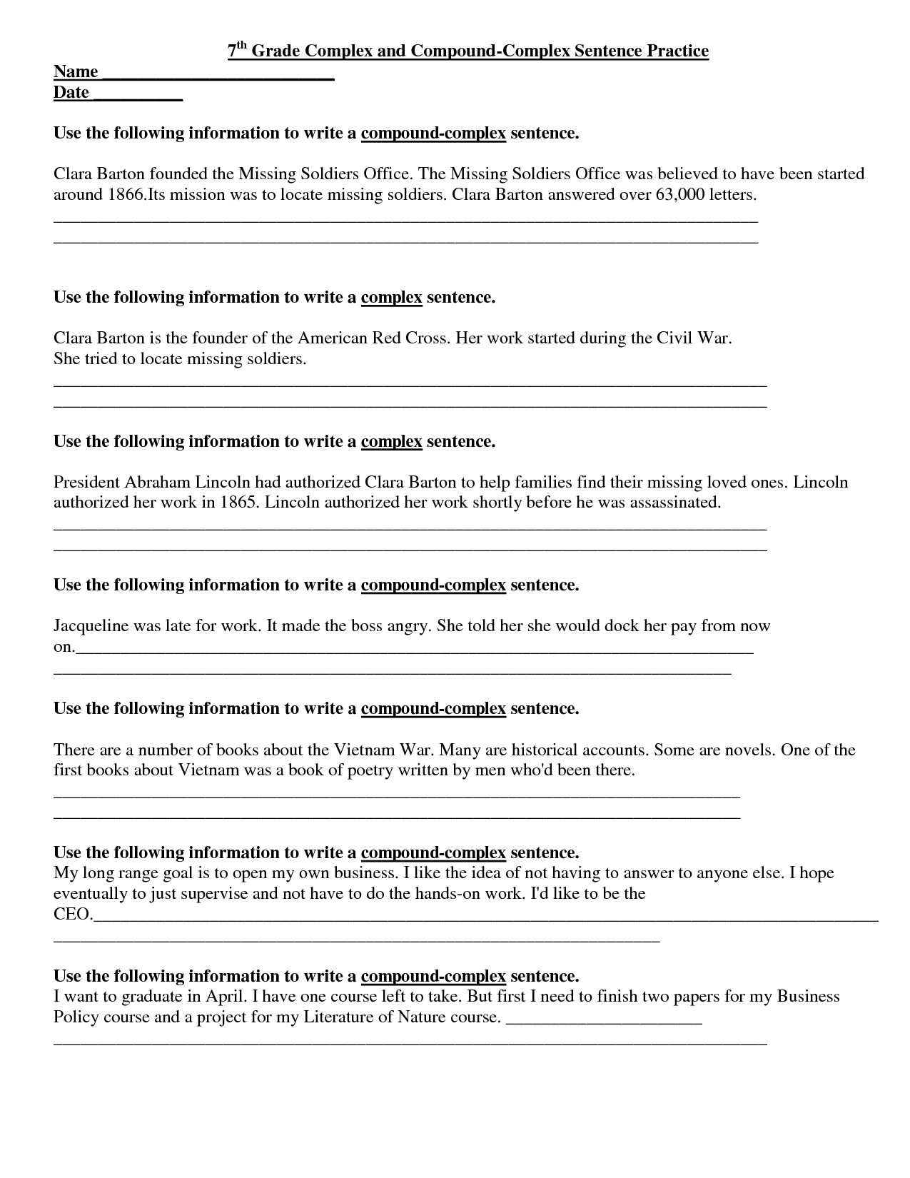 7th Grade History Worksheet Free