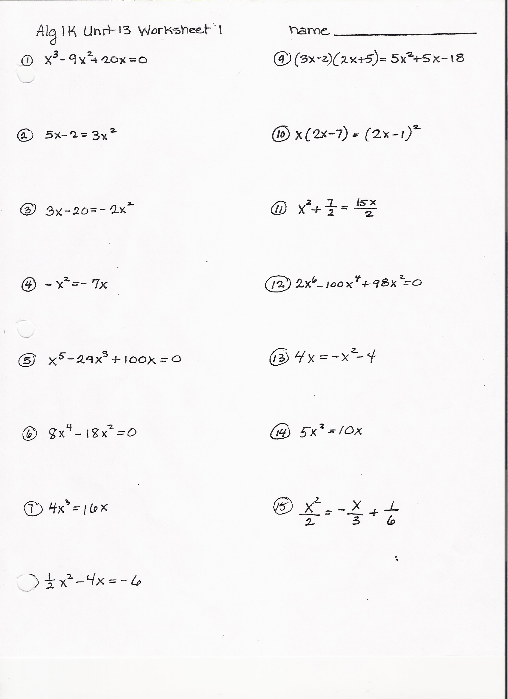 30 Factoring Worksheet Algebra 1