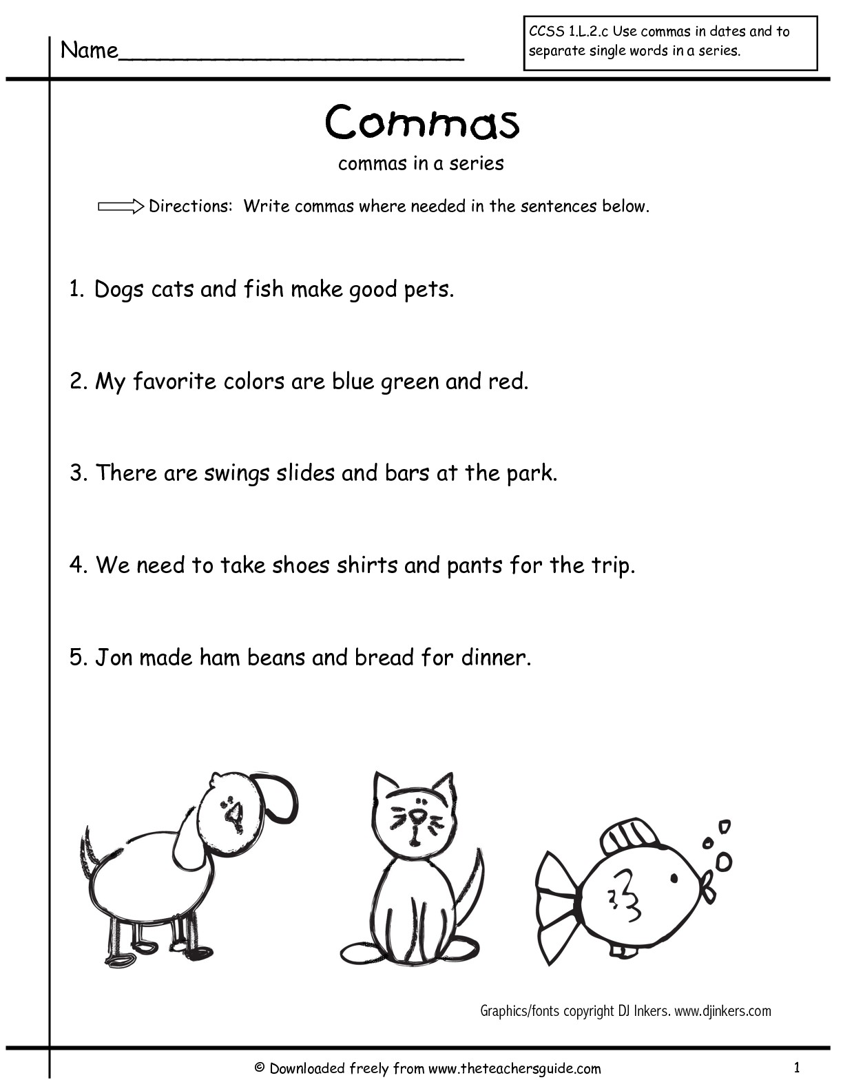 17 Best Images Of Comma Practice Worksheets