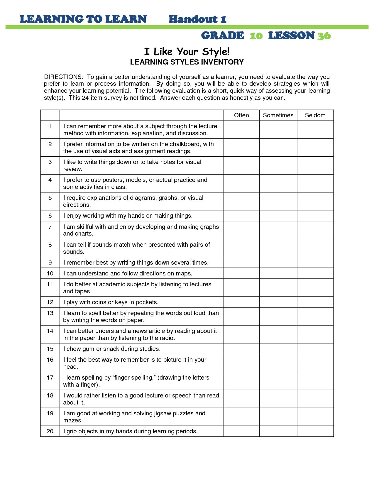 Shocking Learning Styles Quiz Printable