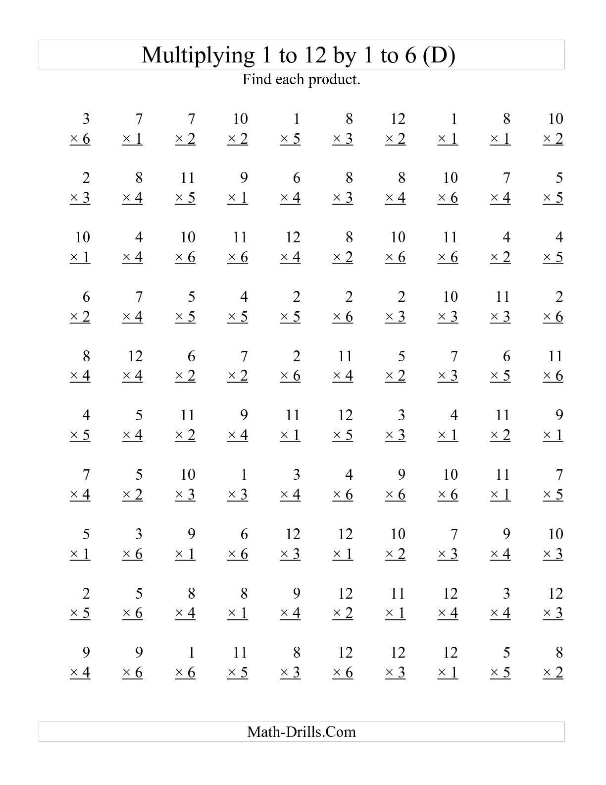 11 Best Images Of 1 Through 12 Multiplication Worksheets
