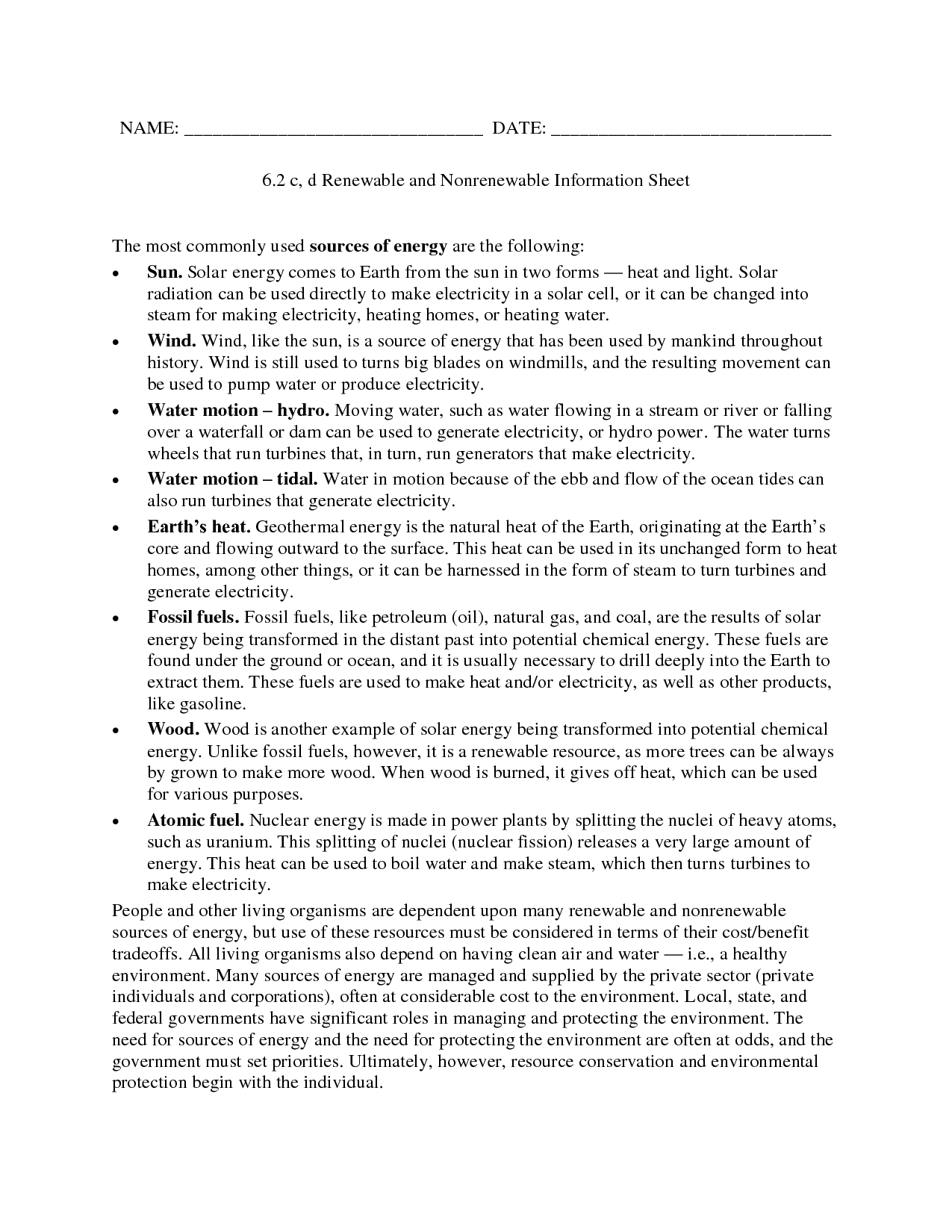 Renewables Renewable And Nonrenewable Worksheet Answers