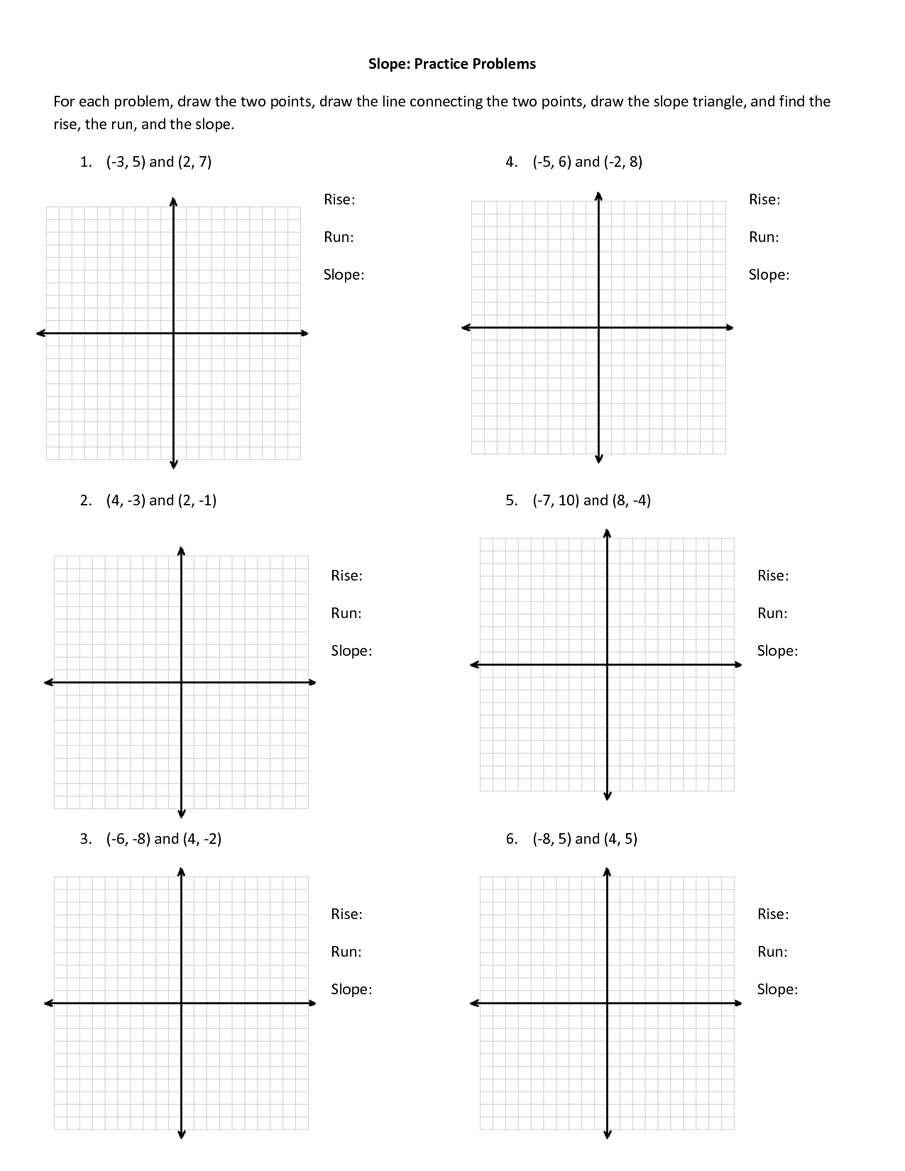 Finding Slope Practice Worksheet