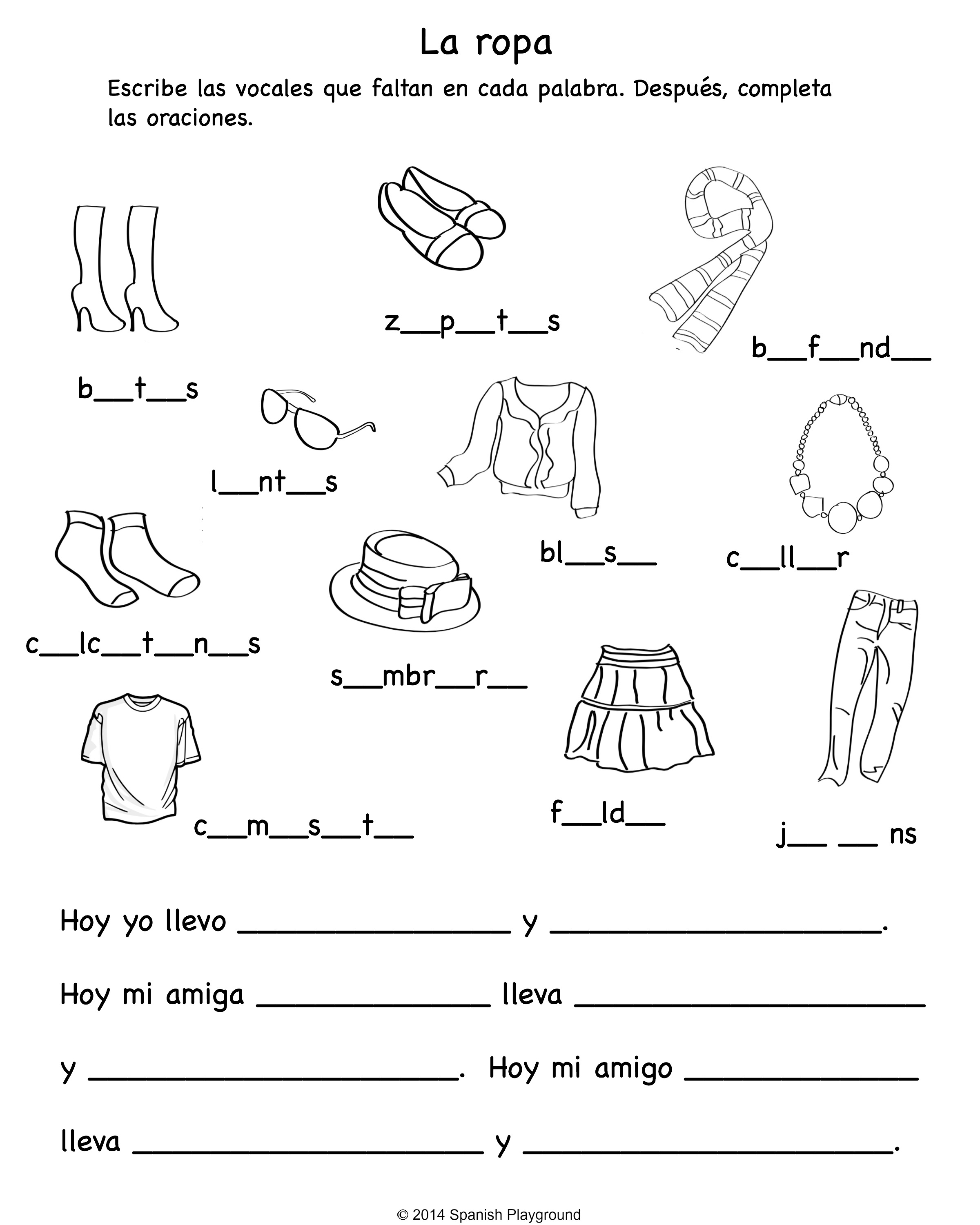 Spanish Vocabulary Worksheet Free