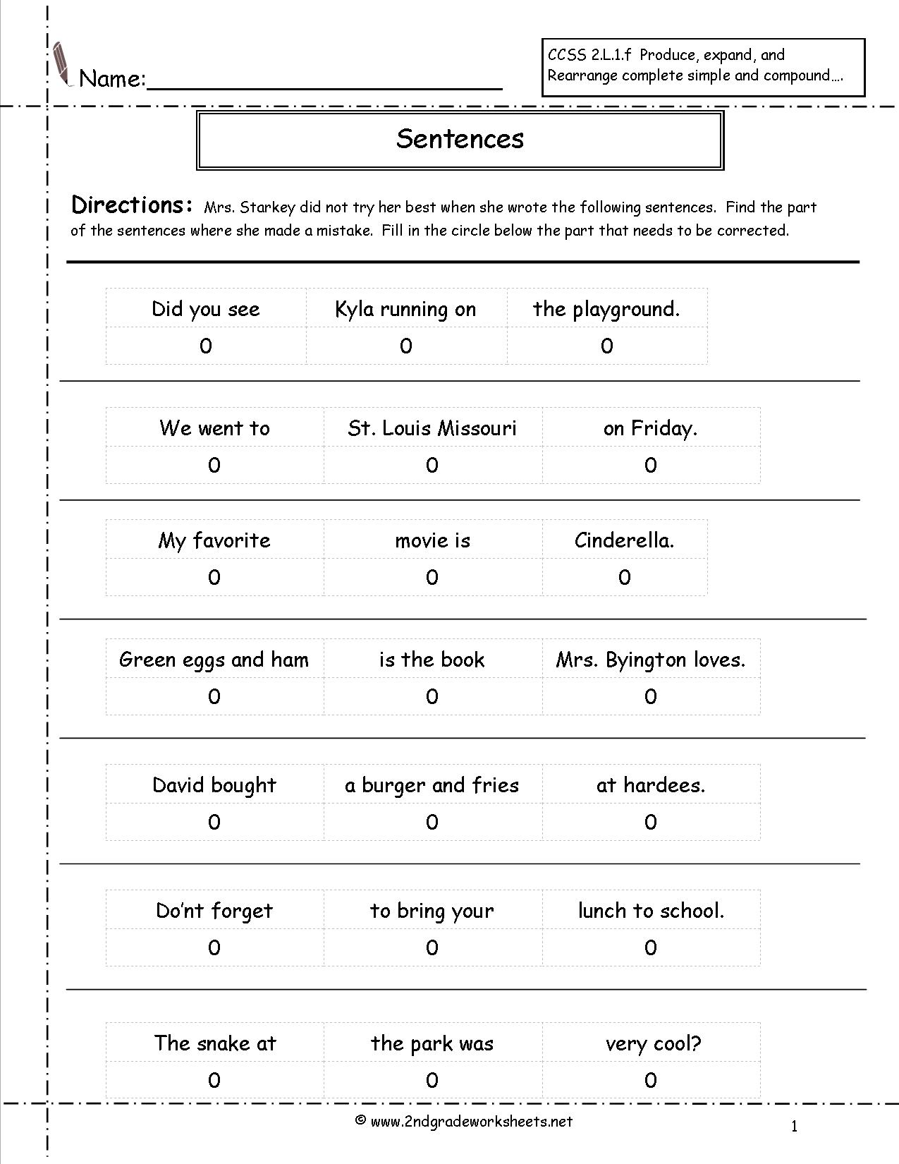 16 Best Images Of 1 Grade Sentence Writing Worksheets