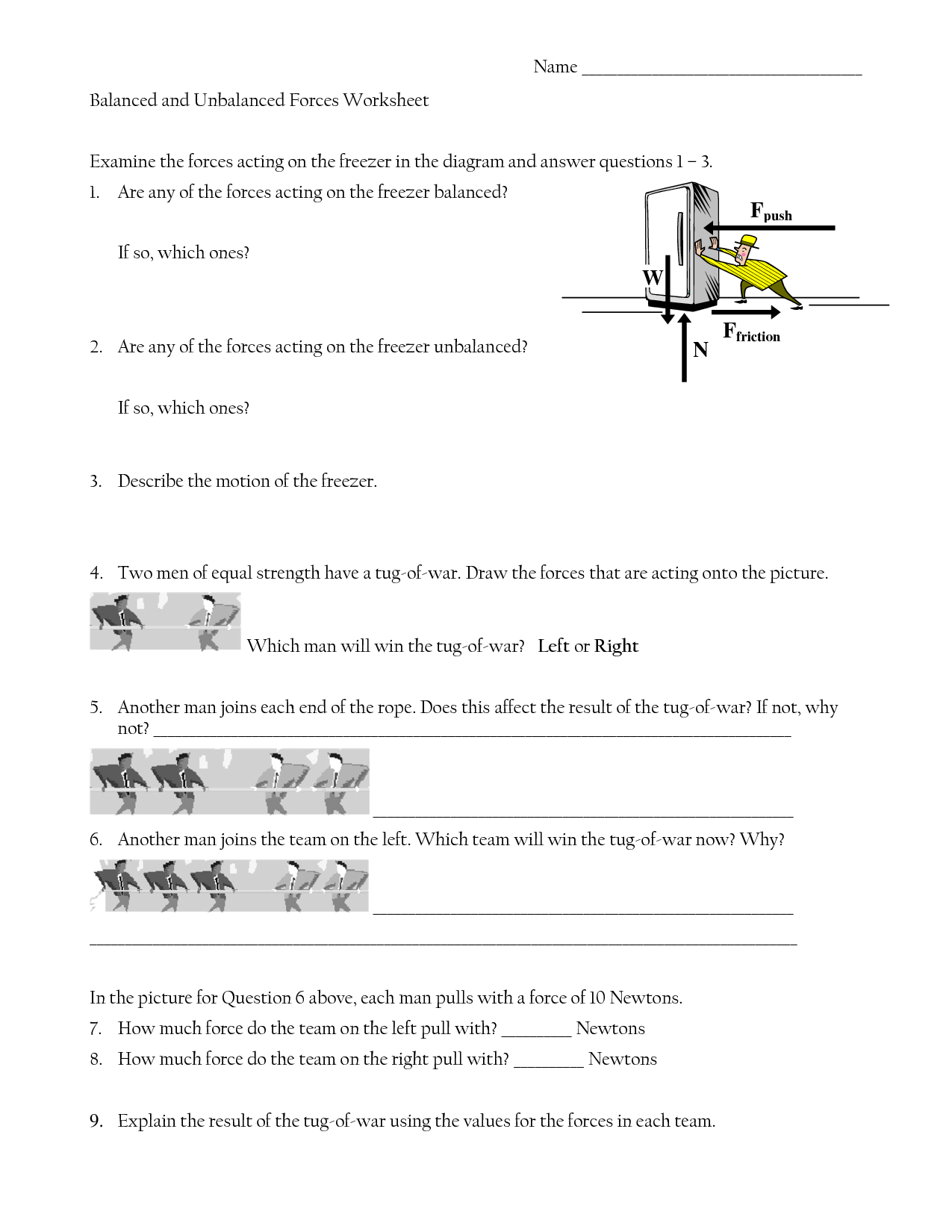 Forces Worksheet Middle School Work
