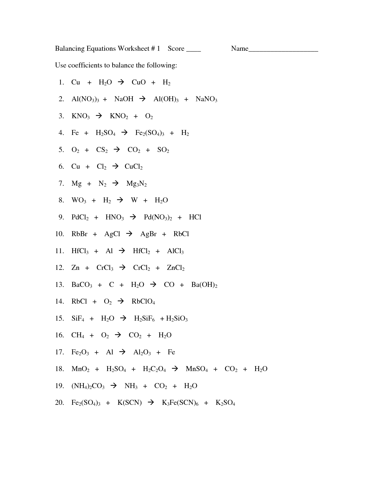 Chemical Equations Worksheet Answers