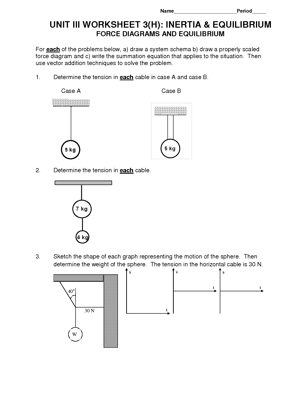Physics Worksheet 2 Drawing Force Diagrams