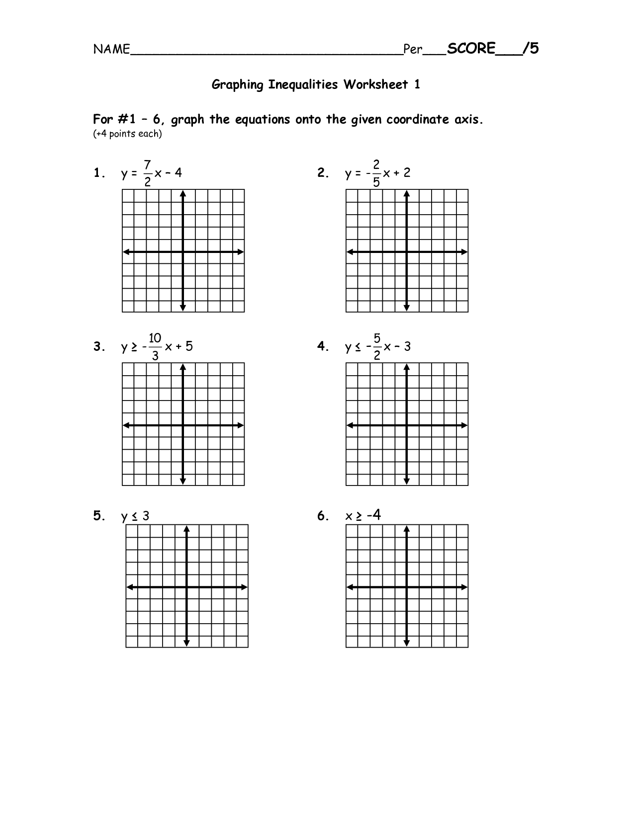 Graphing Lines Worksheet 2 Variables