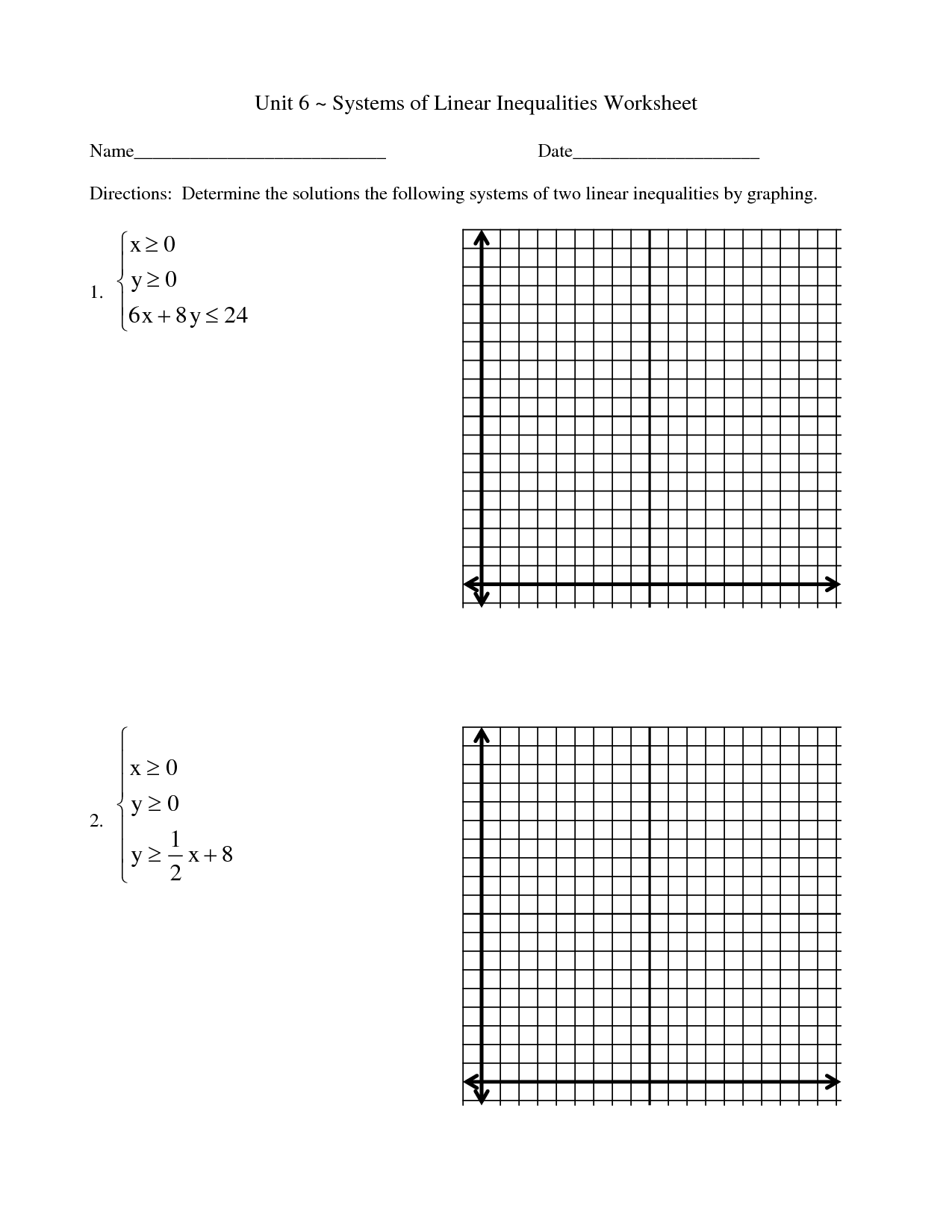 Solving And Graphing Inequalities Worksheet Doc