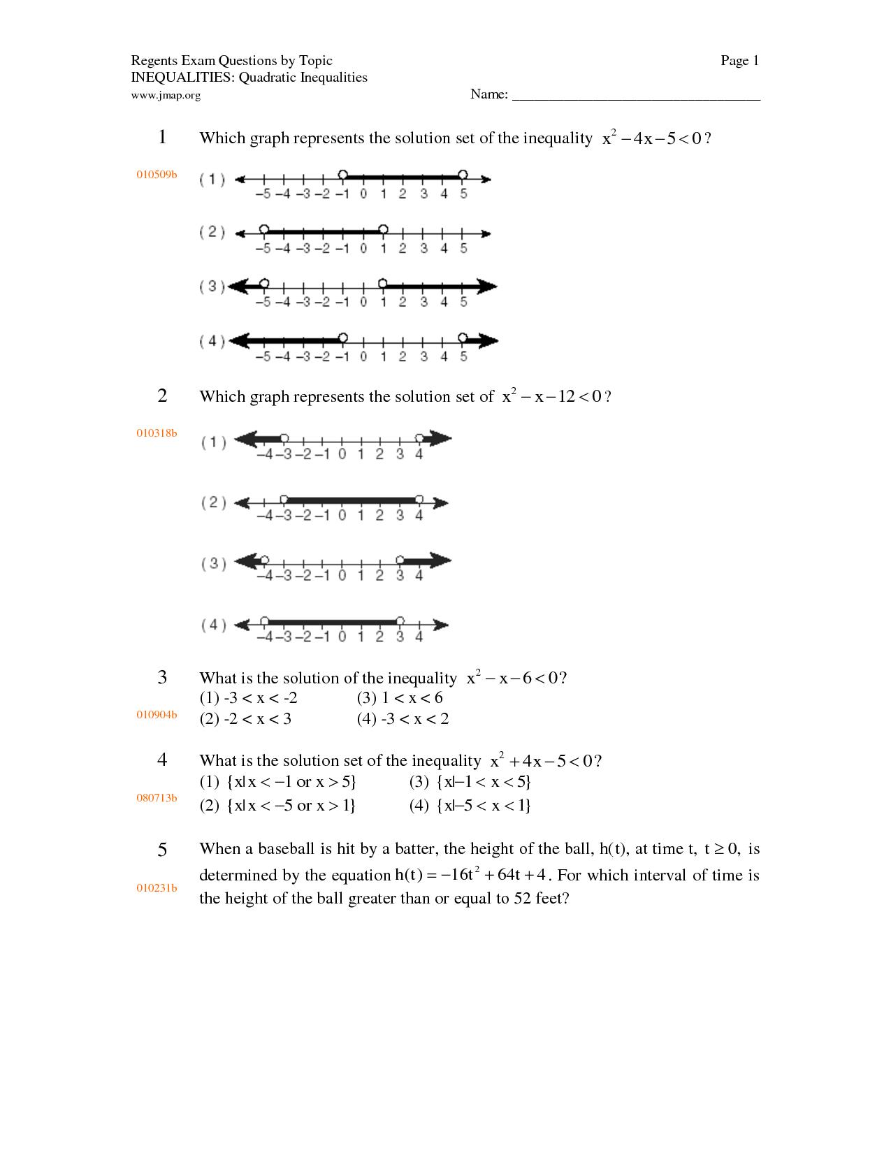 Worksheet Quadratic Inequalities