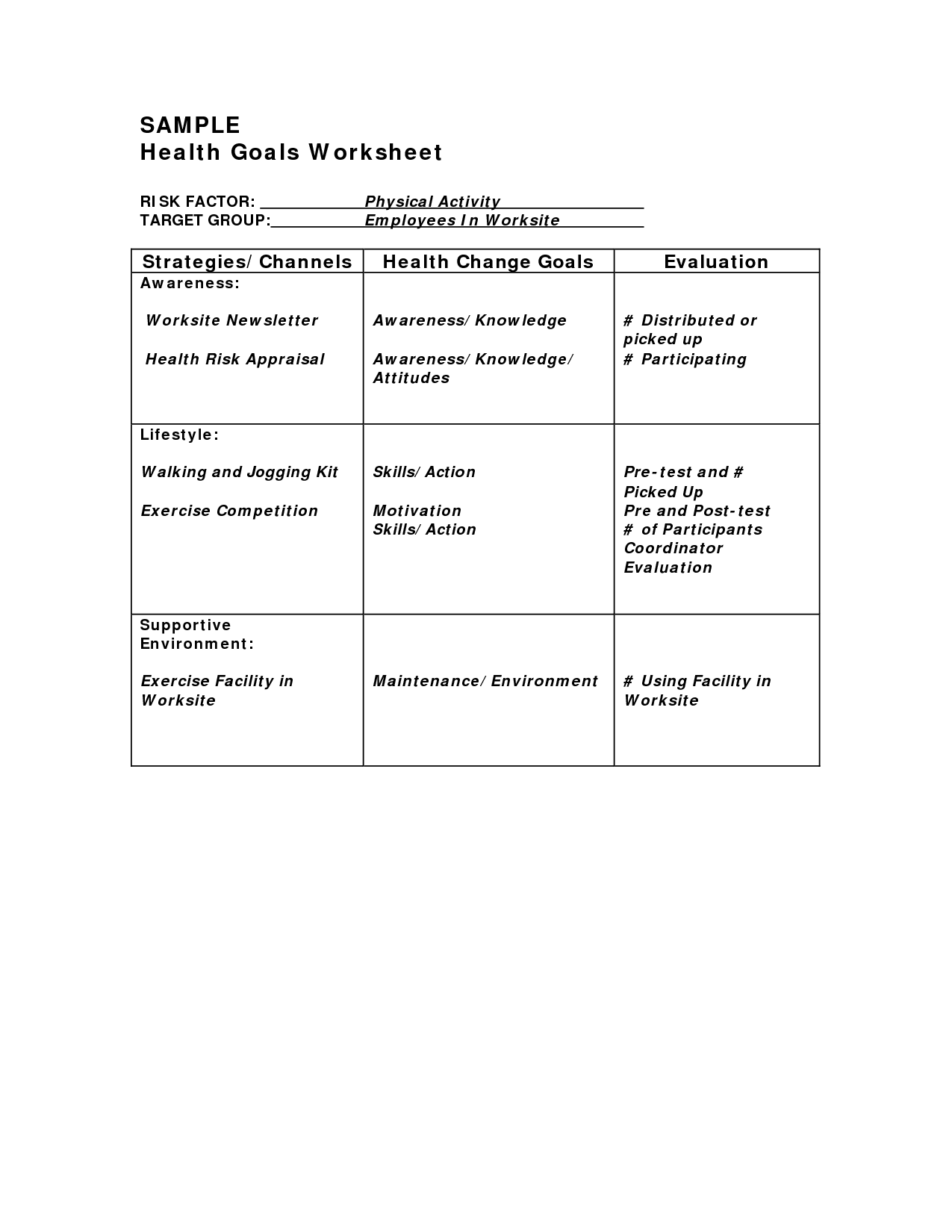 14 Best Images Of Healthy Lifestyle Changes Worksheet
