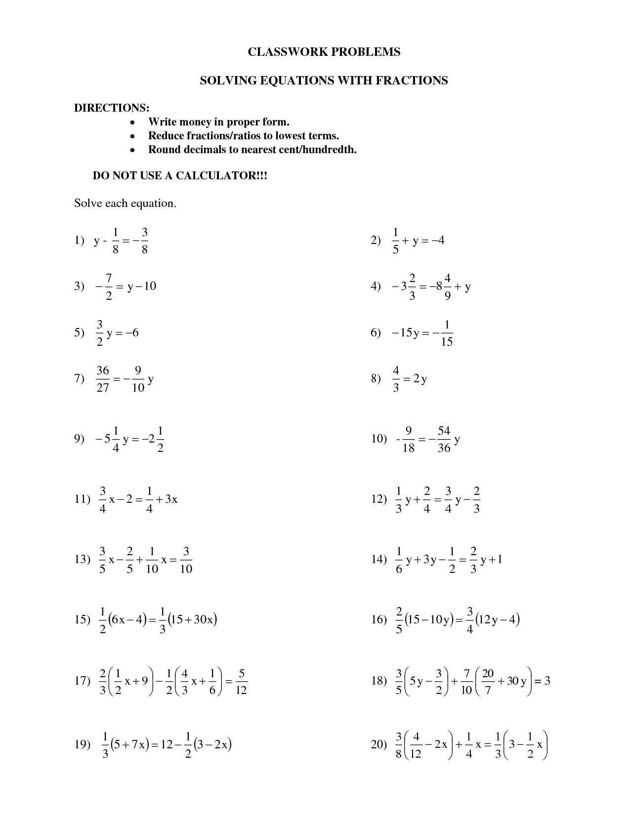 14 Best Images Of Multi Step Equations Worksheets With