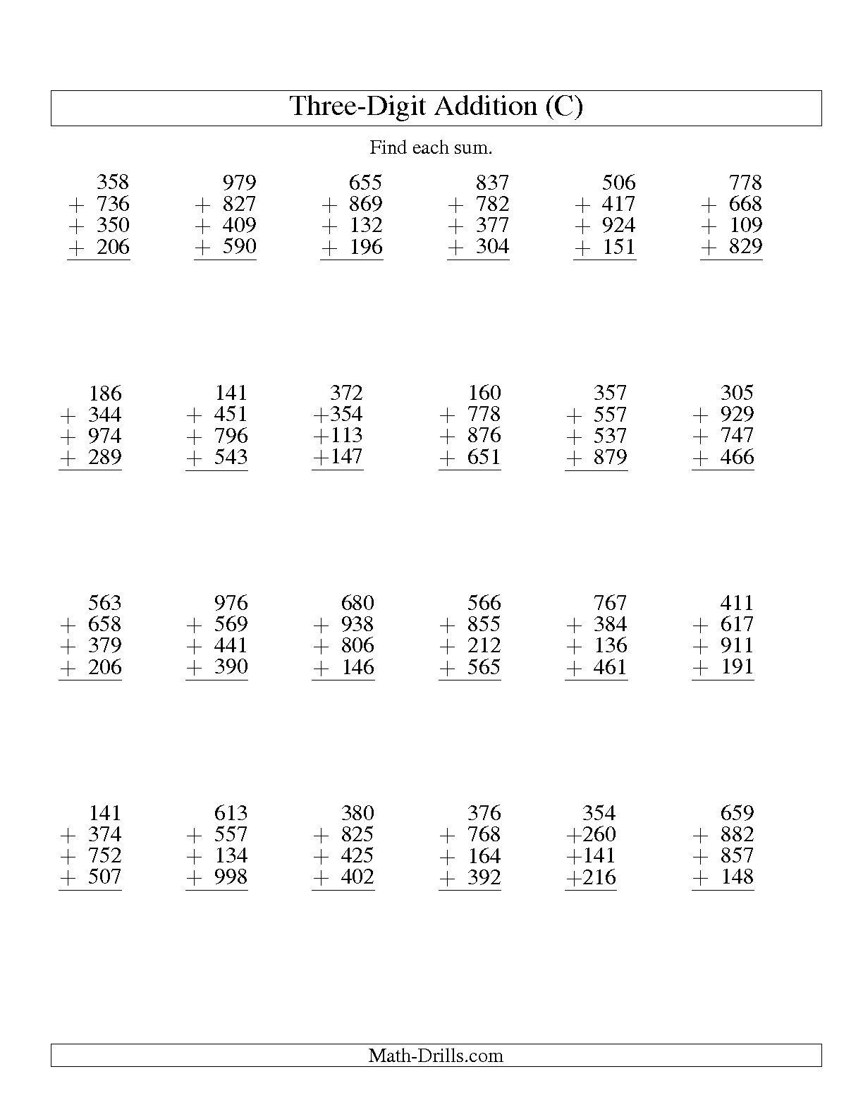 Math Worksheet With Colum