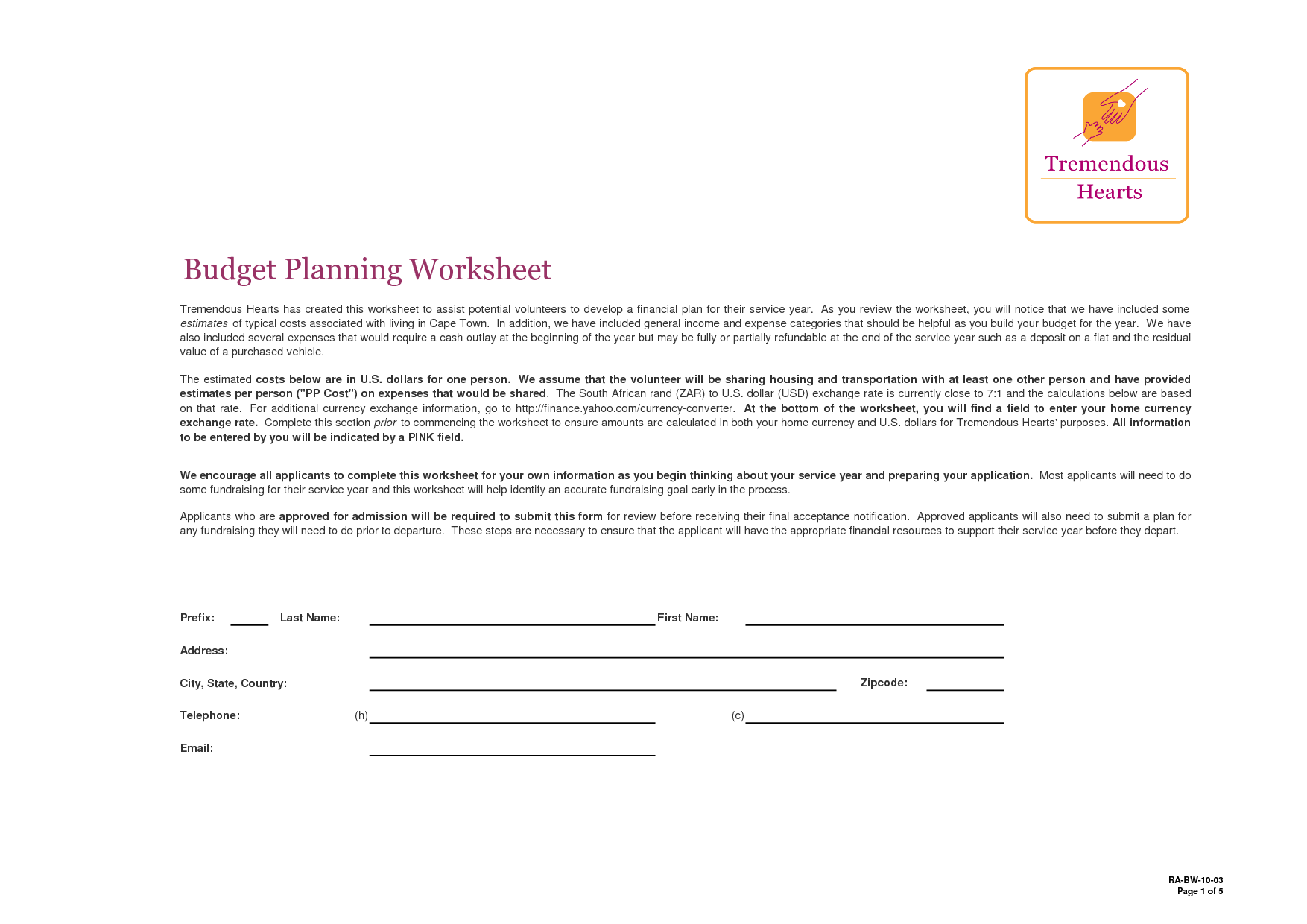 17 Best Images Of Budget Plan Worksheet