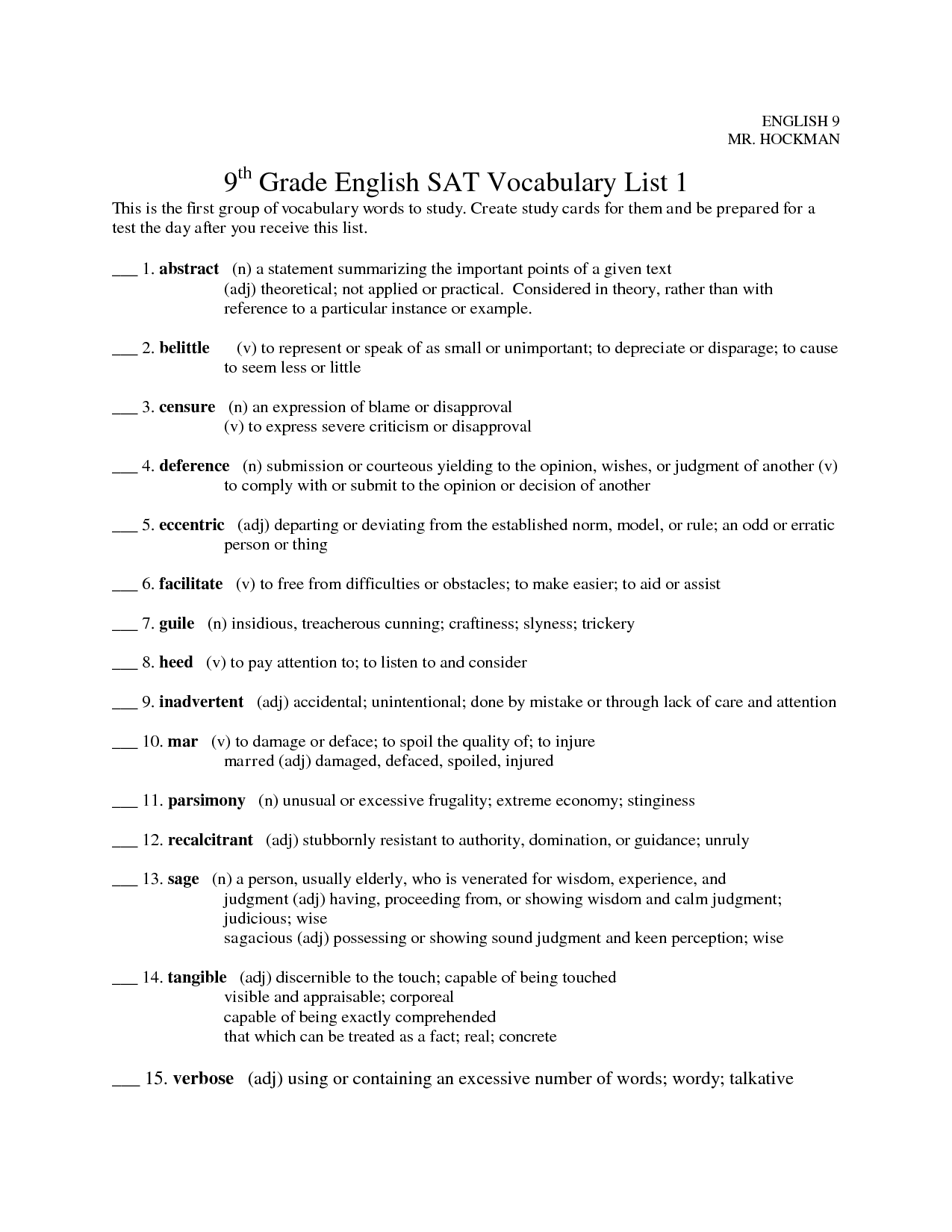 19 Best Images Of 9th Grade English Worksheets Printable