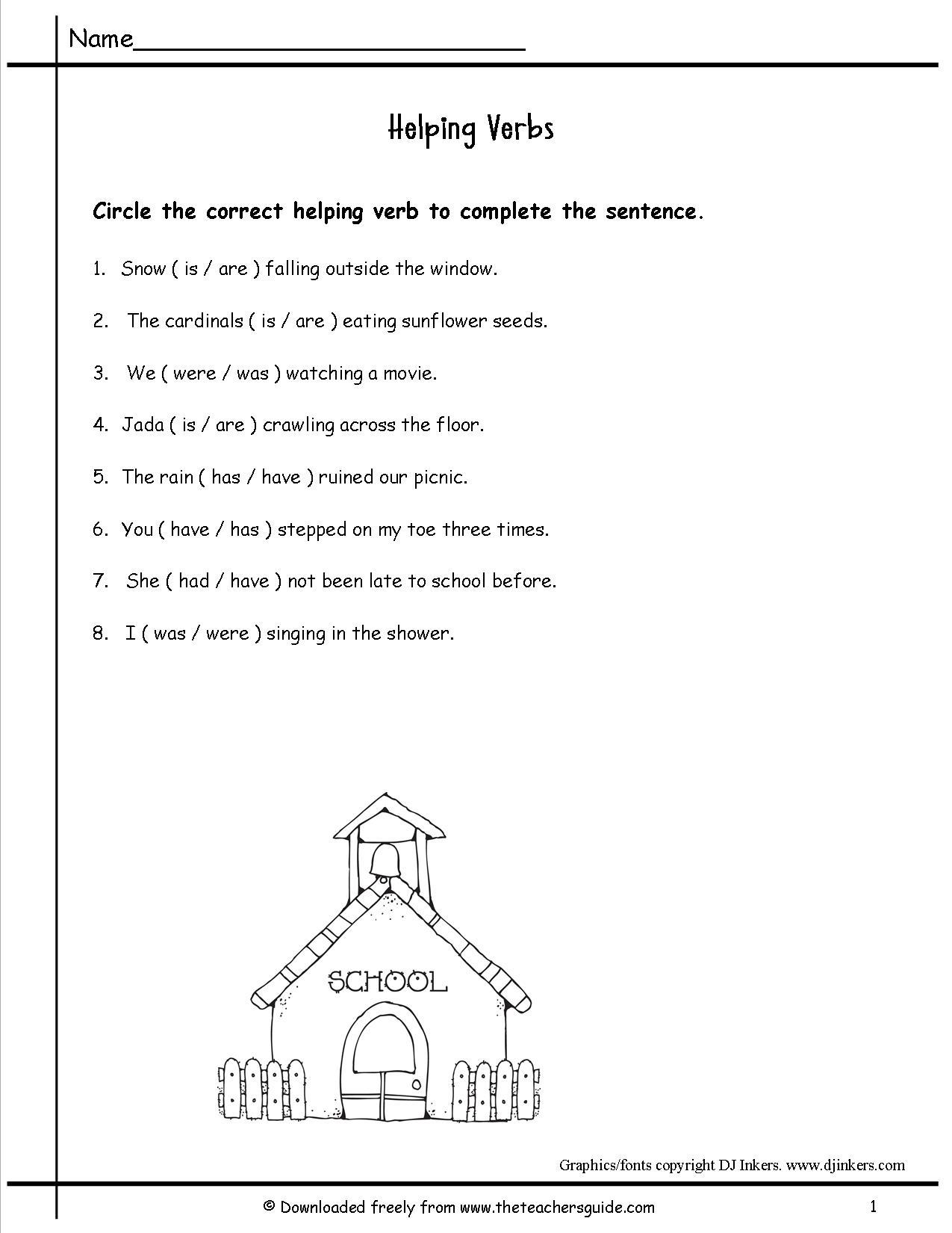 Helping Verbs Printable Worksheet