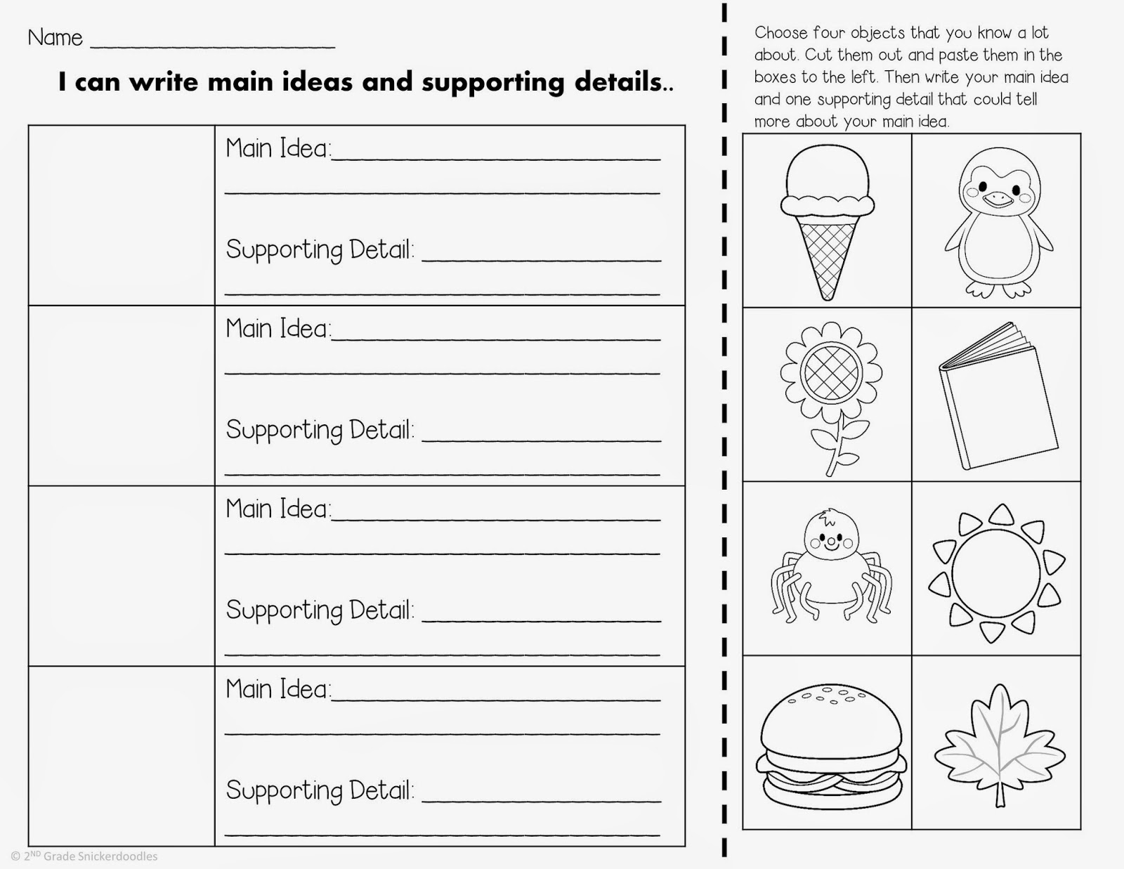 13 Best Images Of Main Idea Detail 2nd Grade Worksheet Key