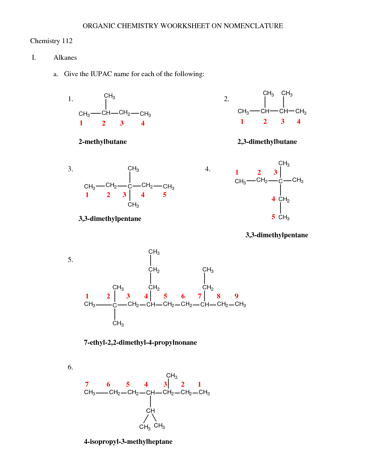 10 Best Images Of Simple Organic Compounds Worksheet