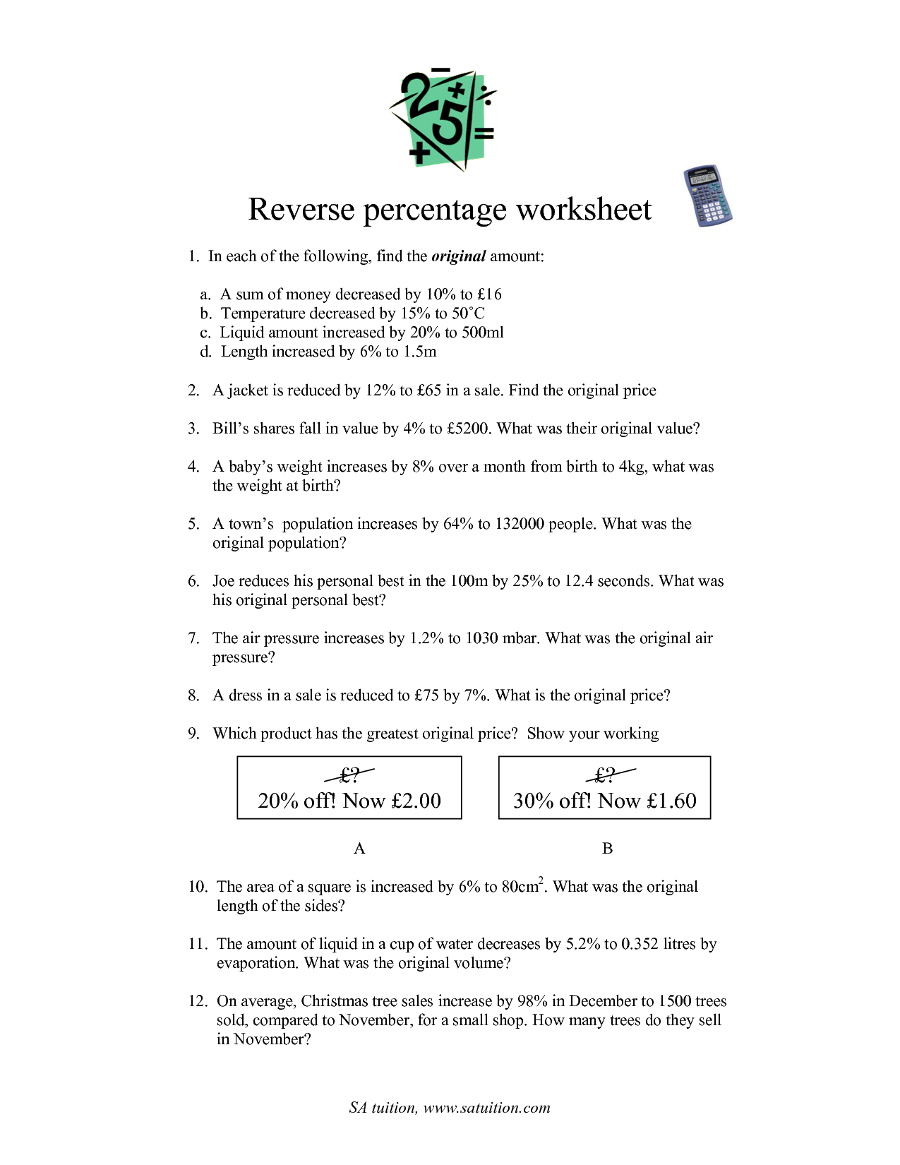 17 Best Images Of Percent Increase Or Decrease Worksheet